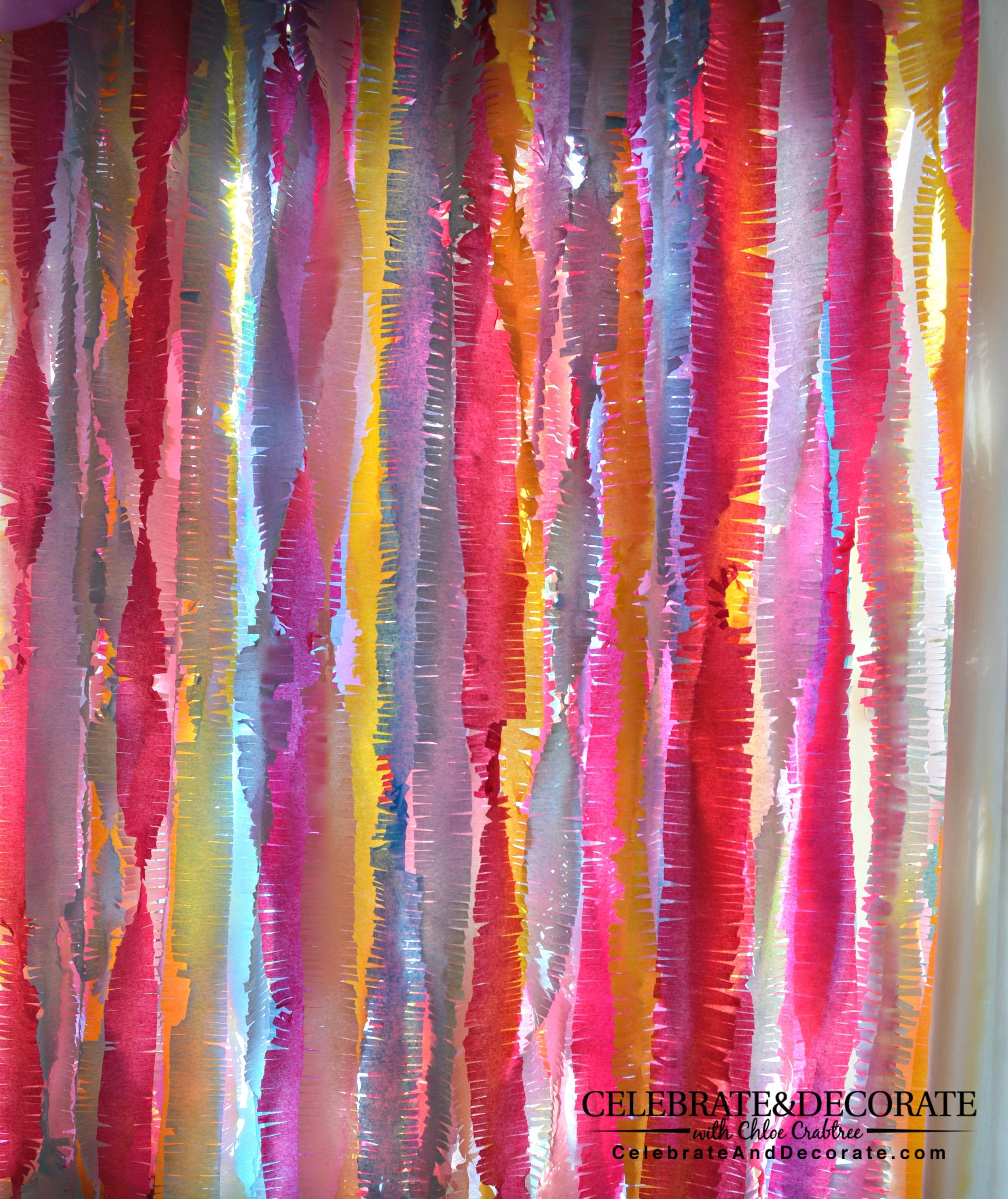 Chloe's Tips ~ Crepe paper backdrop tutorial - Celebrate & Decorate