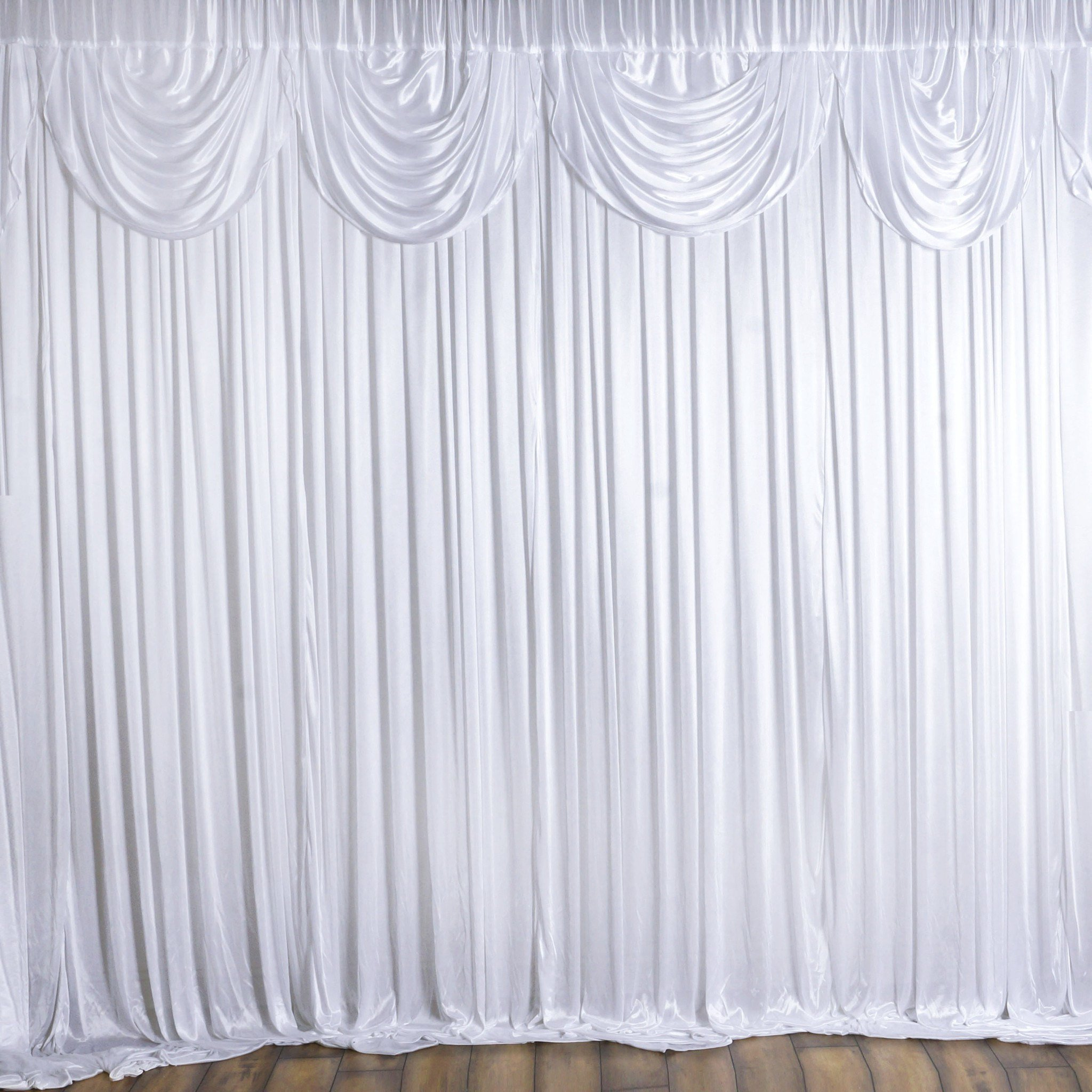 20ftx10ft Classic Double Drape Backdrop Decoration - White | eFavorMart