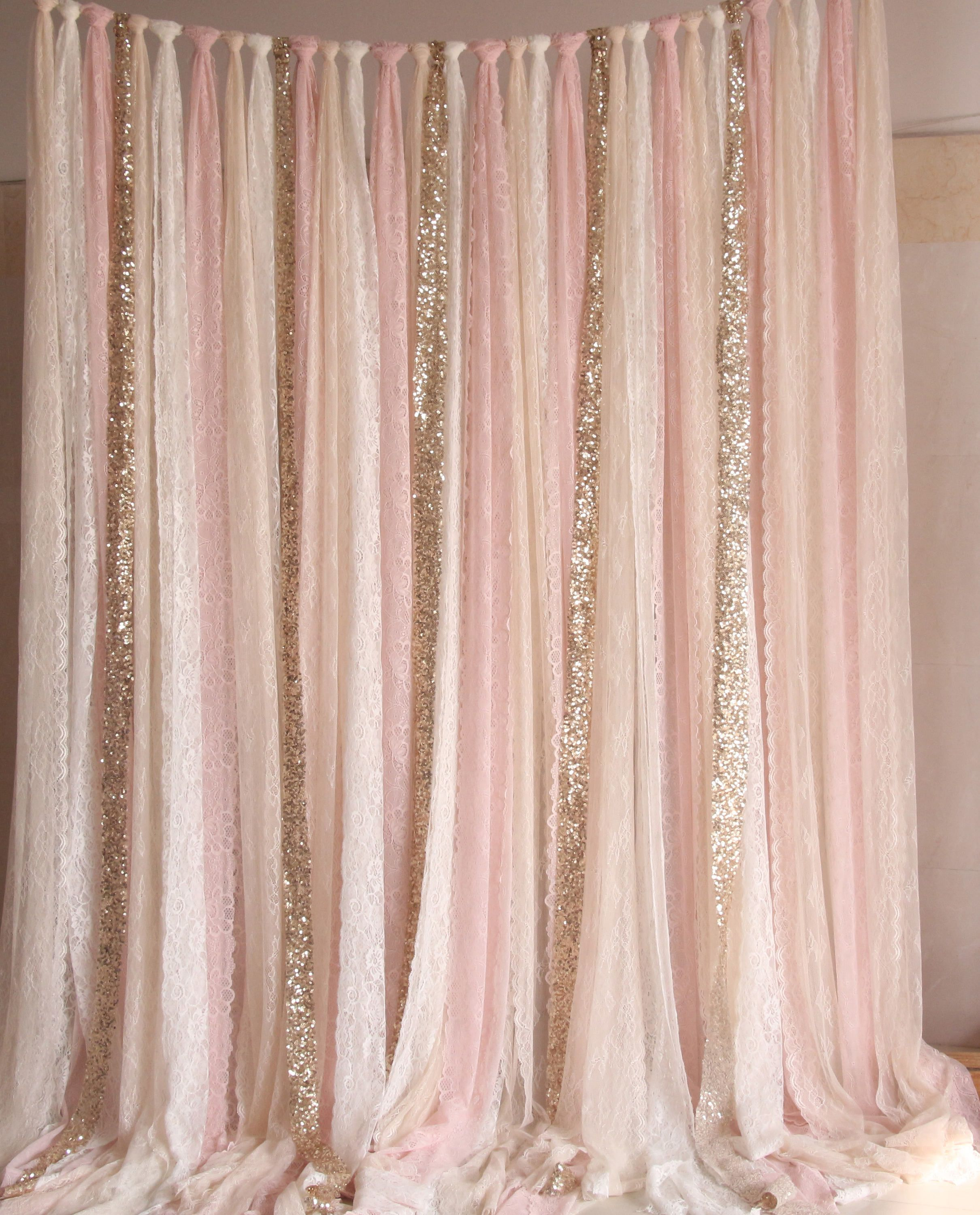 Blush pink white Lace fabric Gold Sparkle photobooth backdrop ...