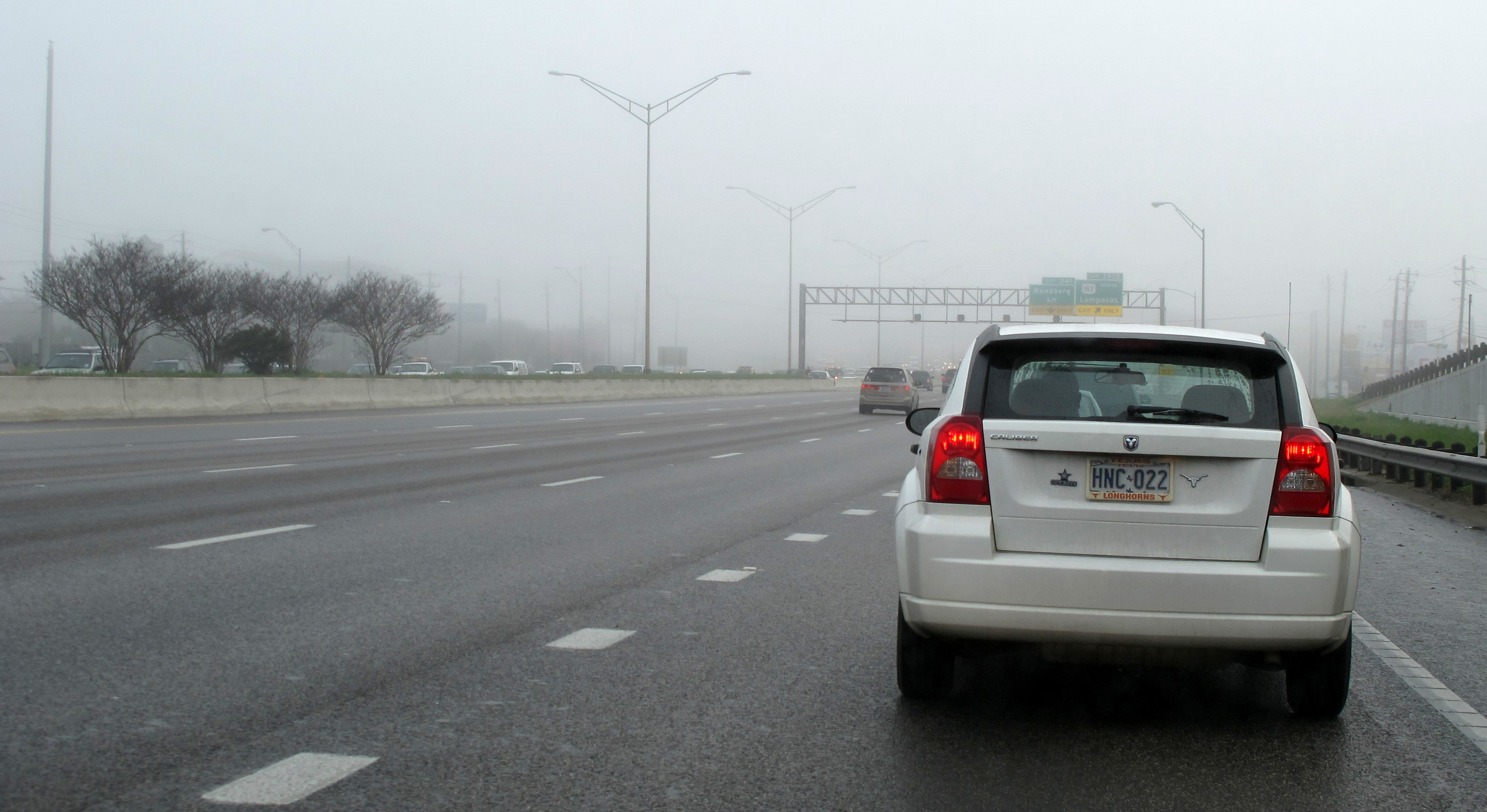 Backed Up Exit Lane, in the Fog, 35, Austin, Caliber, Car, HQ Photo