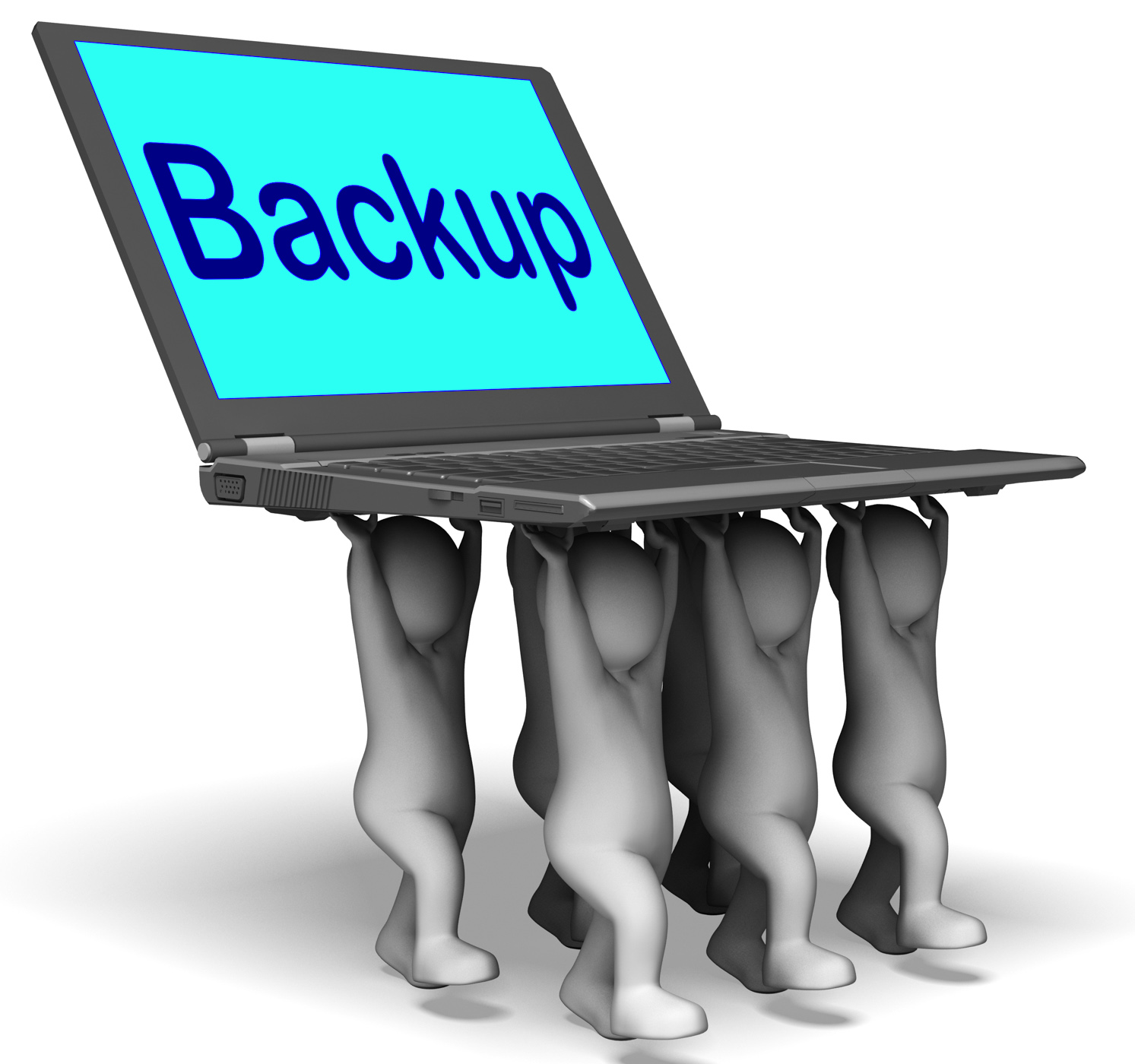Backup character laptop shows archive back up and storing photo