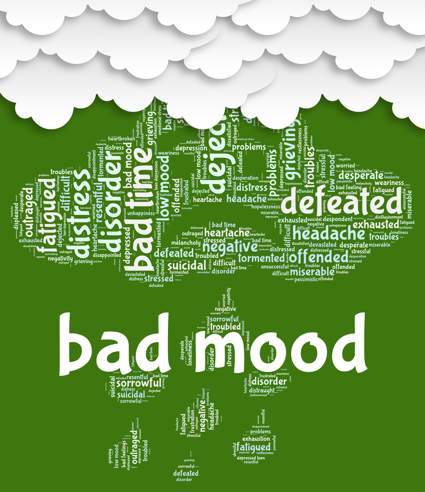 Bad mood represents grief stricken and anger photo