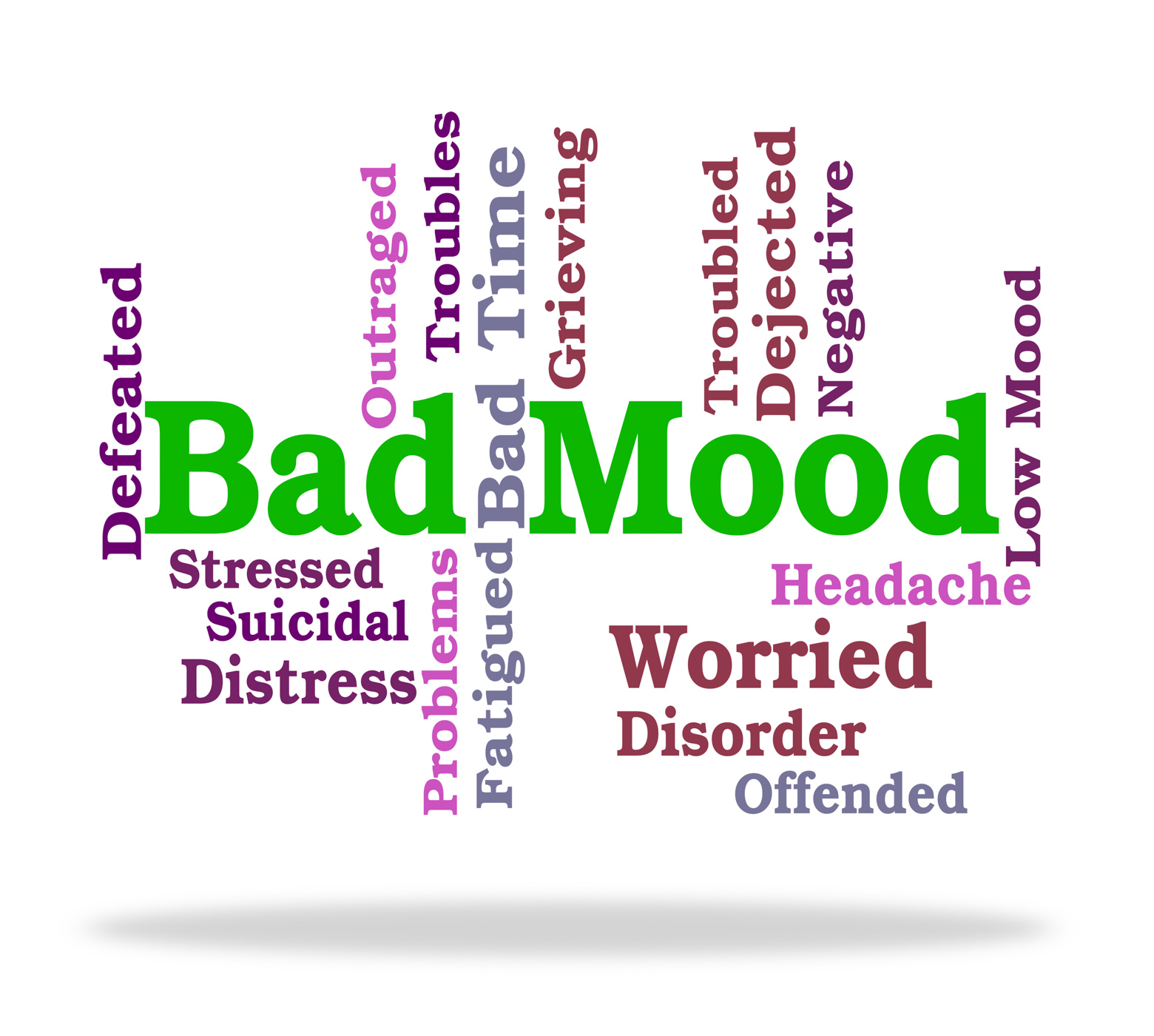 Bad mood shows somber words and depression photo
