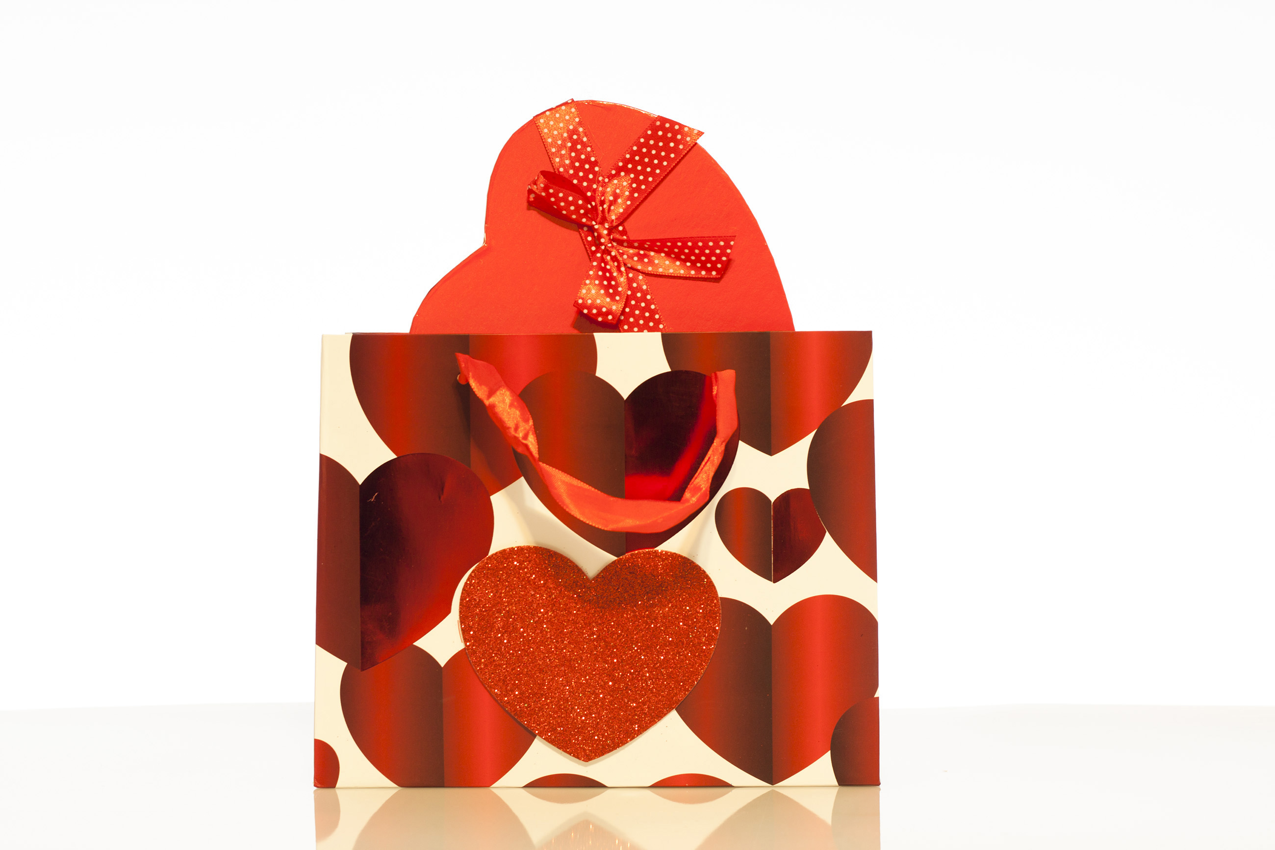 Bag and gift box, Patterned, Present, Red, Paper, HQ Photo