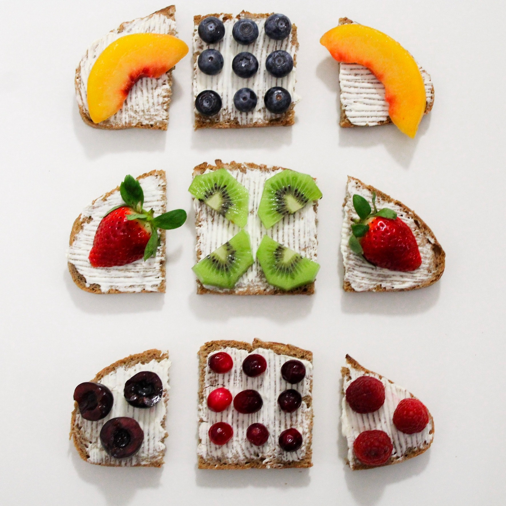 Baked breads with fruit toppings photo
