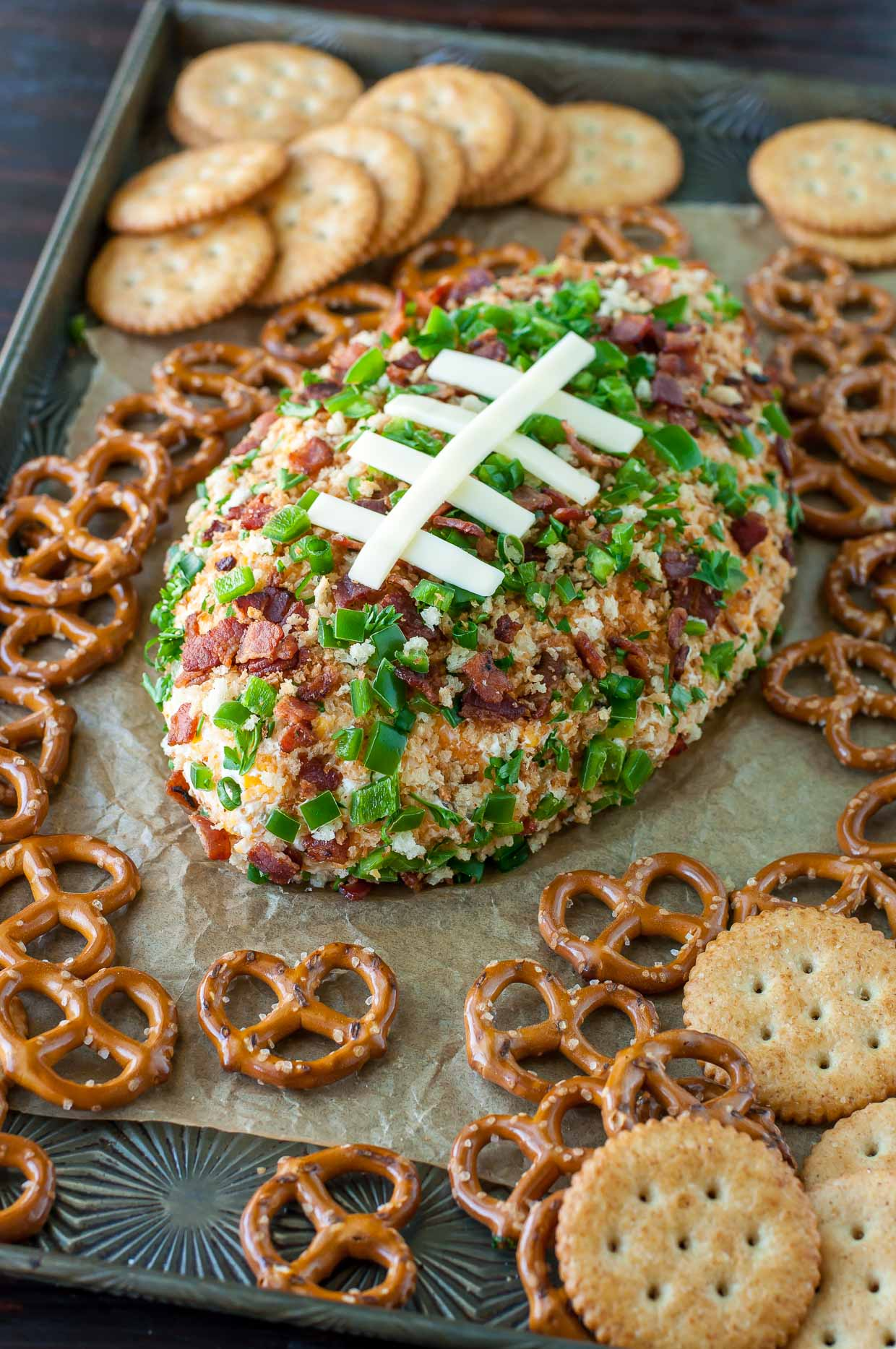 Jalapeño Popper Football Cheese Ball - Peas And Crayons