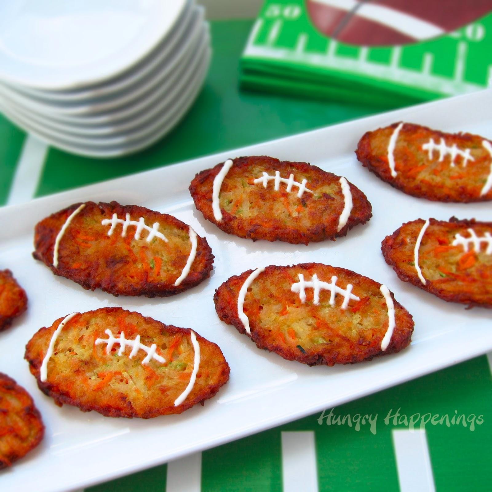 Football Shaped Zucchini Fritters (aka, Mücver) - Fun Super Bowl ...