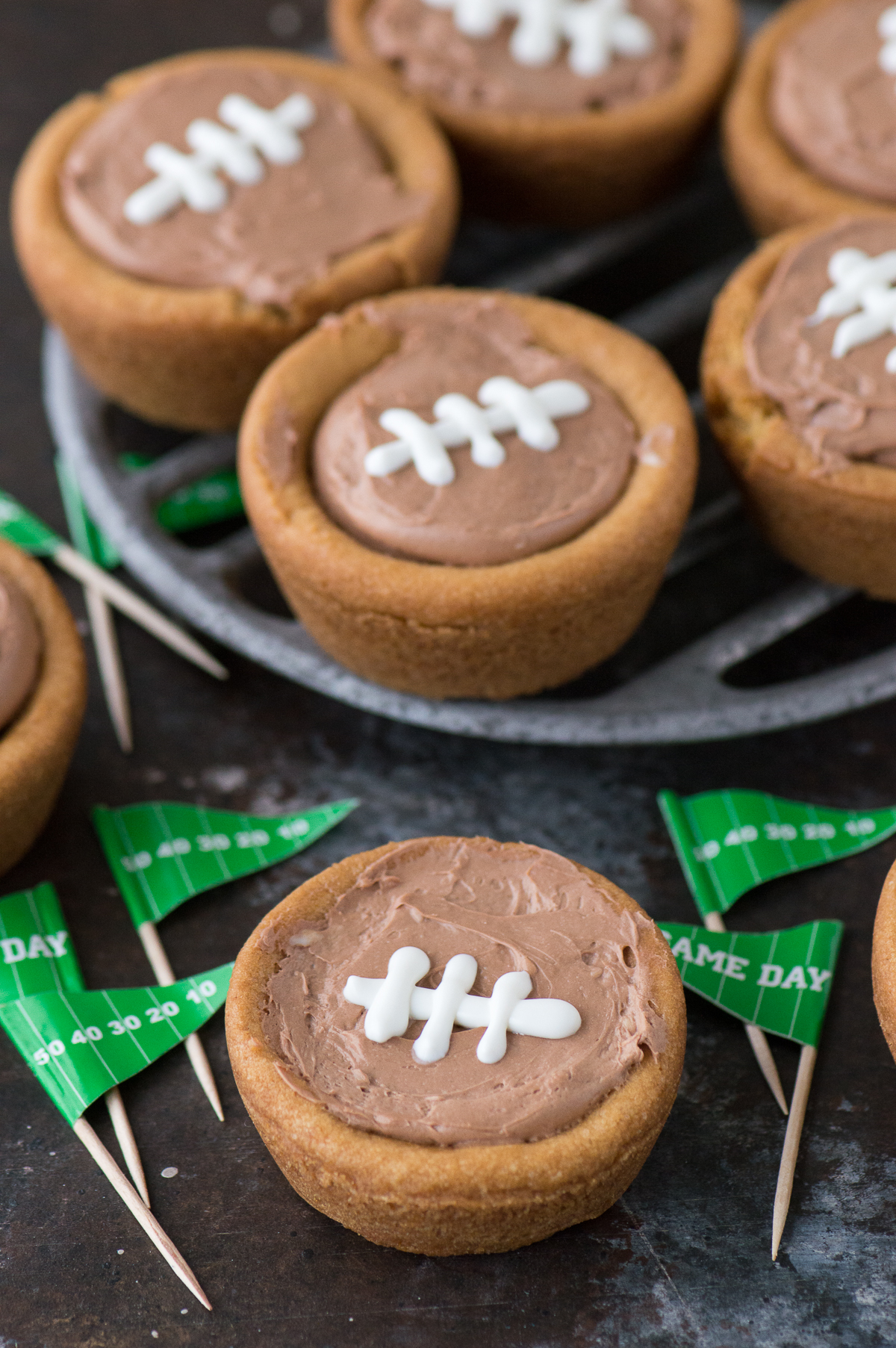Cheesecake Sugar Cookie Football Cups | Baked chocolate cheesecake ...