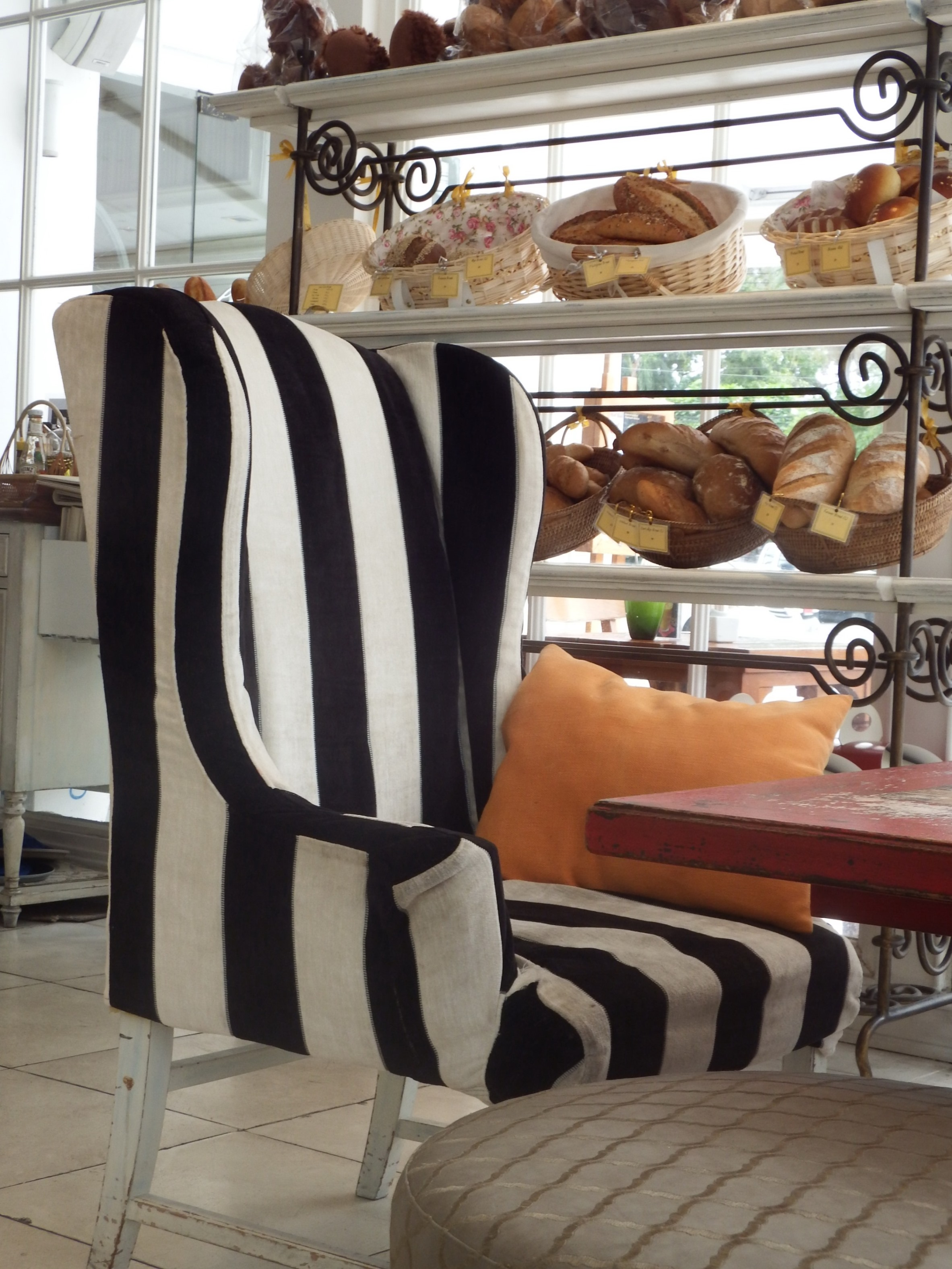 Bakery Cafe with Striped Black and White, And, Rooms, House, Interior, HQ Photo