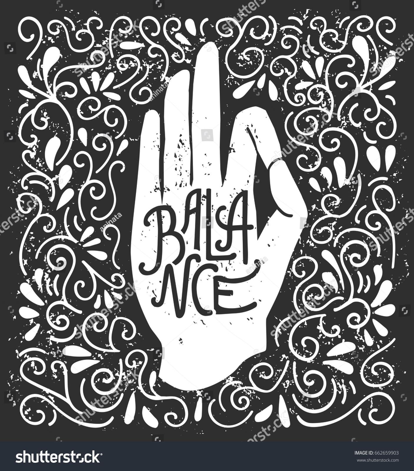 Balance Vector Illustration White Hand Silhouette Stock Vector ...