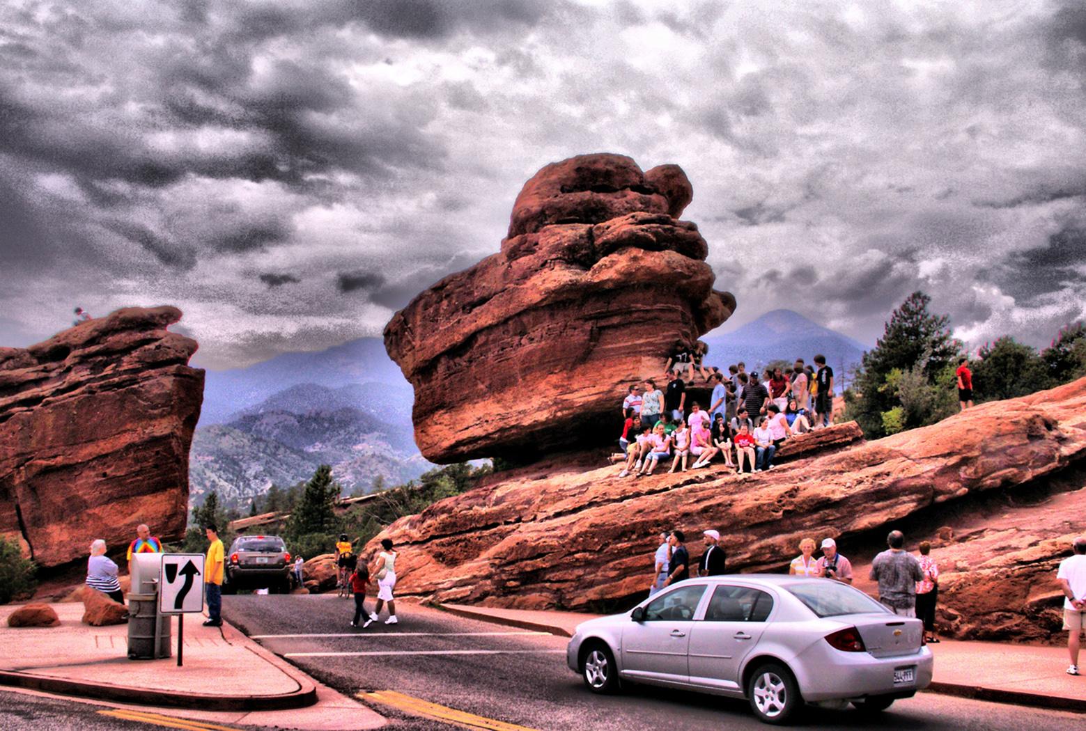 Balanced Rock, Automobile, Car, Cliffs, Clouds, HQ Photo
