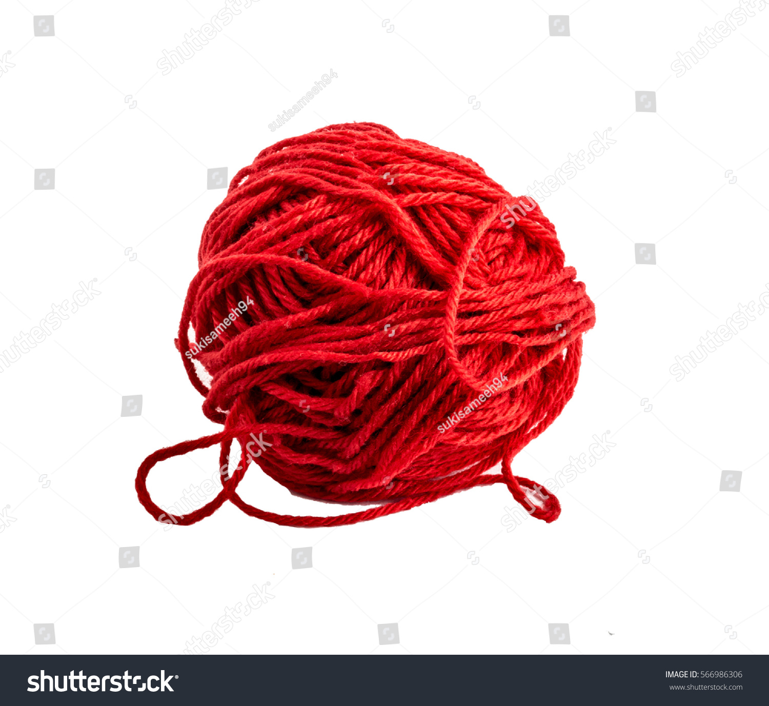 Red Ball Yarn Knitting Isolated On Stock Photo (100% Legal ...