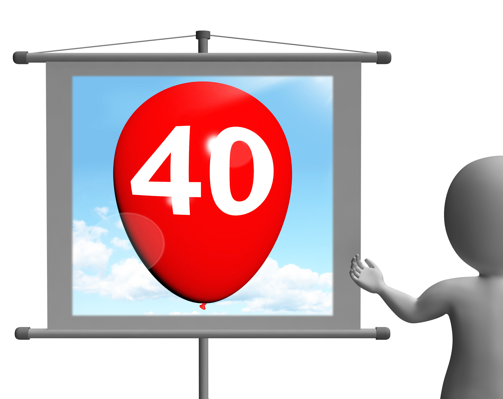 Balloon Shows Fortieth Happy Birthday Celebration, 40, 40th, Adult, Adulthood, HQ Photo