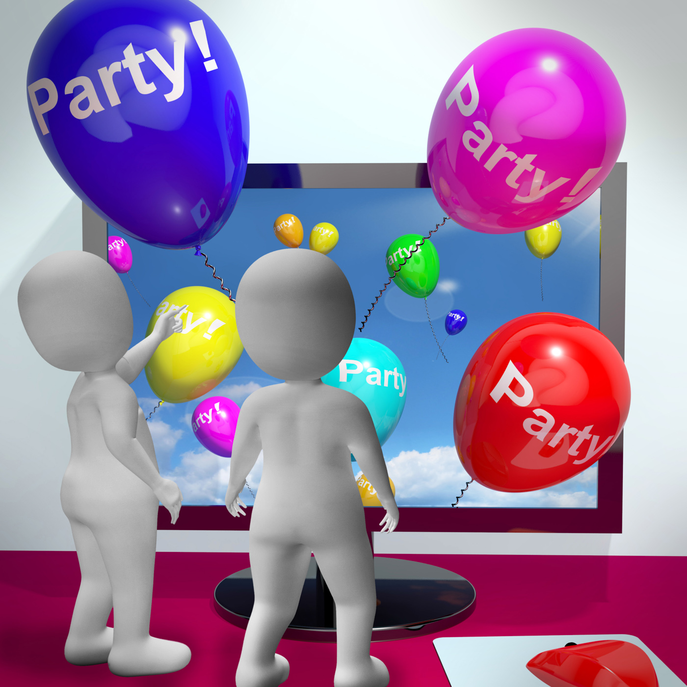Balloons With Party Text Showing Invitations Sent Online, Anniversary, Balloons, Birthday, Celebrate, HQ Photo