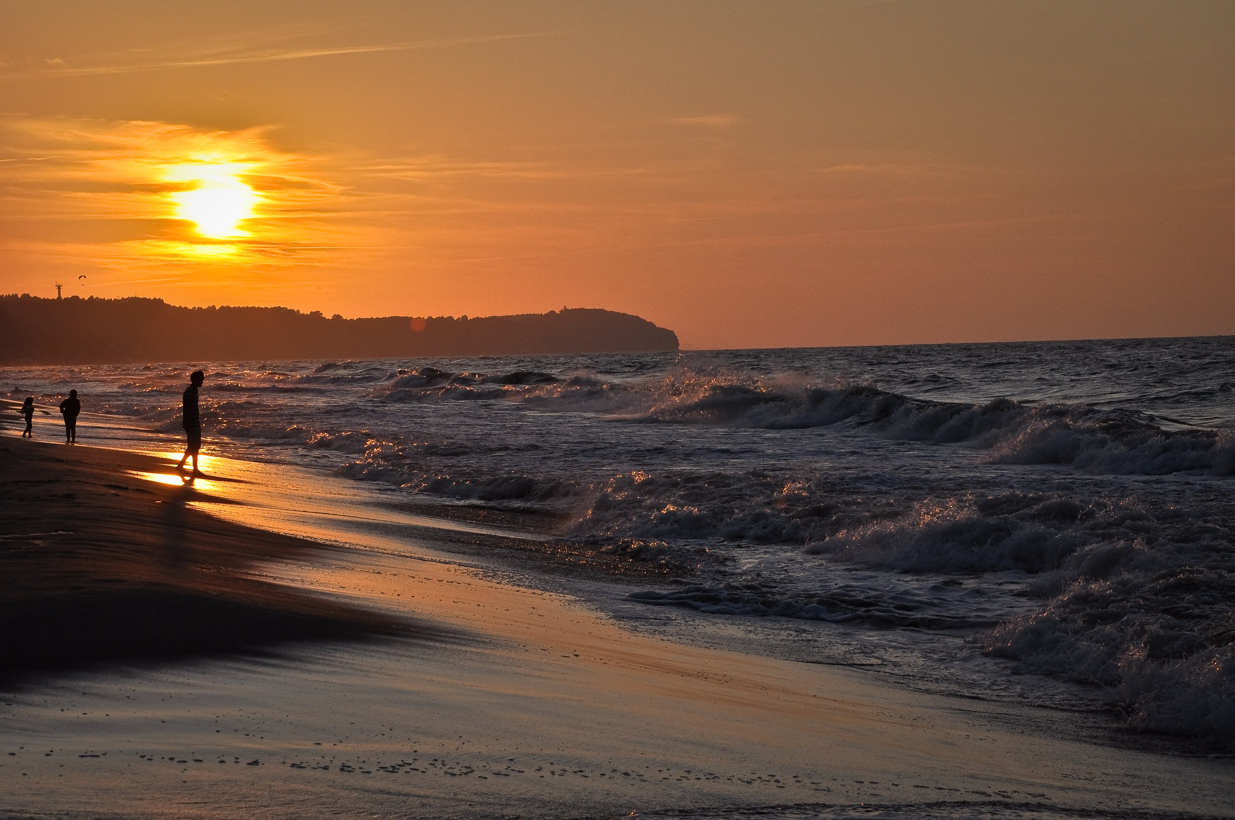 Baltic sea sunset, poland photo