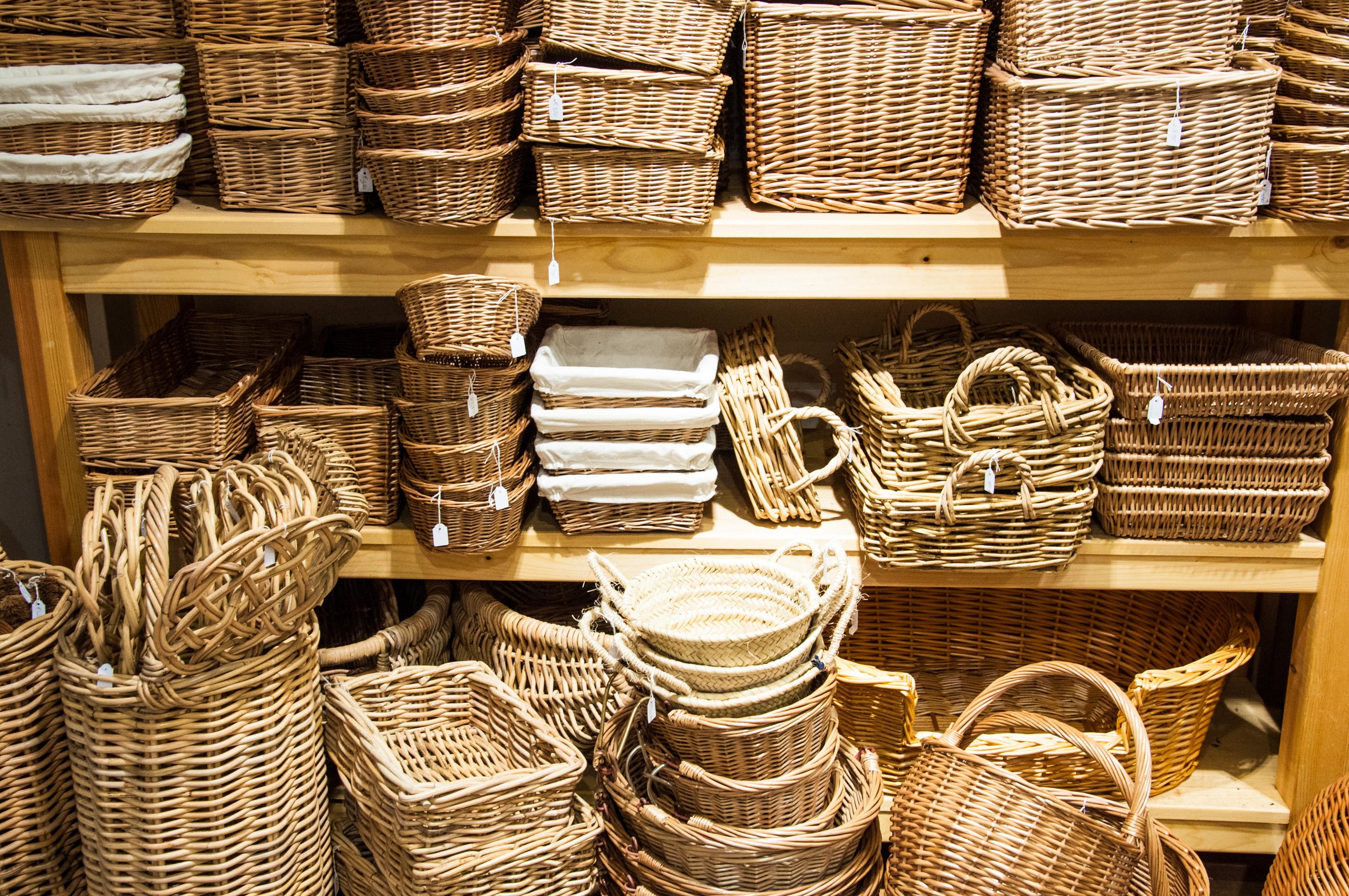 Bamboo rotan baskets photo