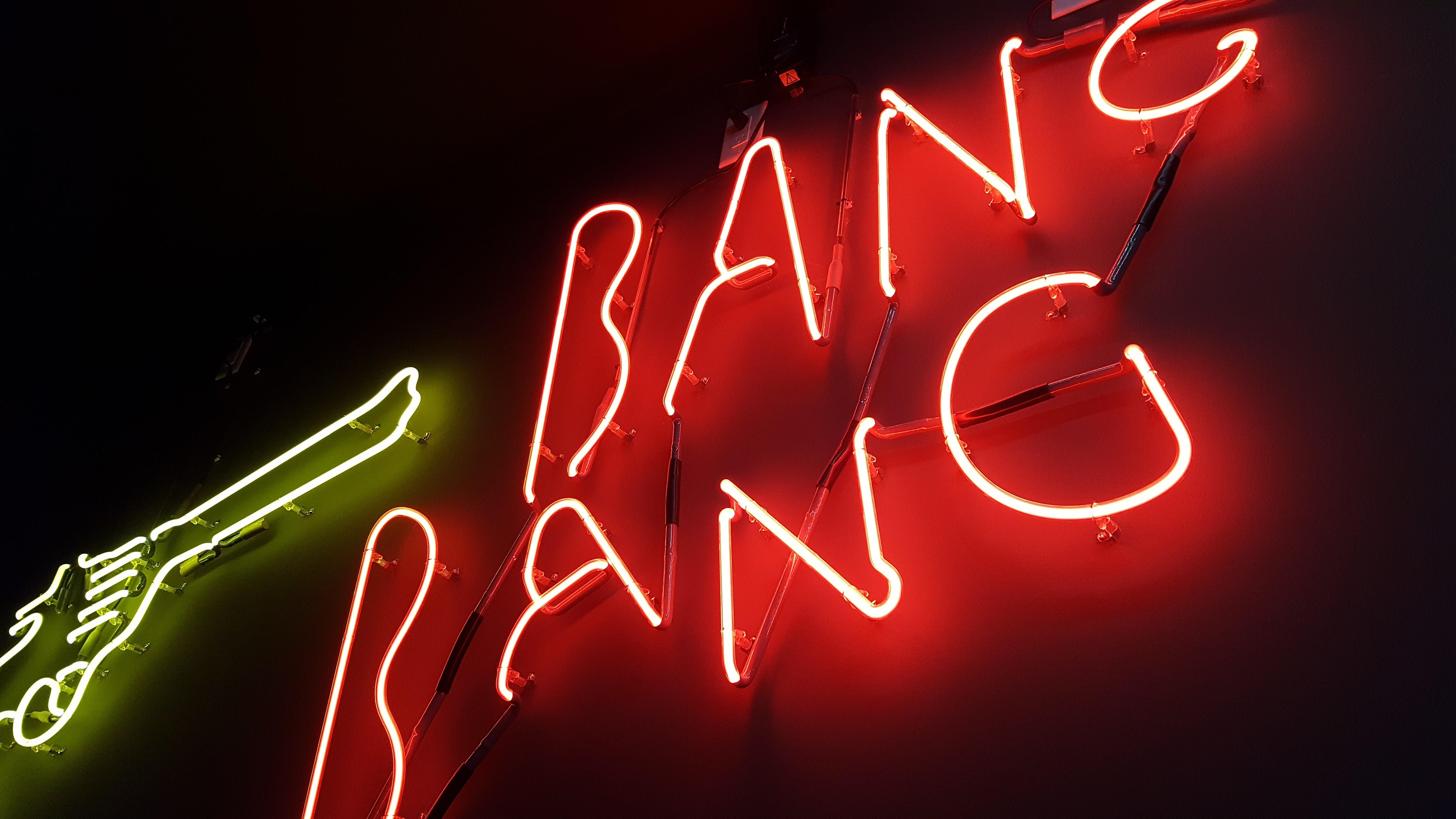 Bang Bang Neon Sign, Sign, Red, Neon, Glow, HQ Photo