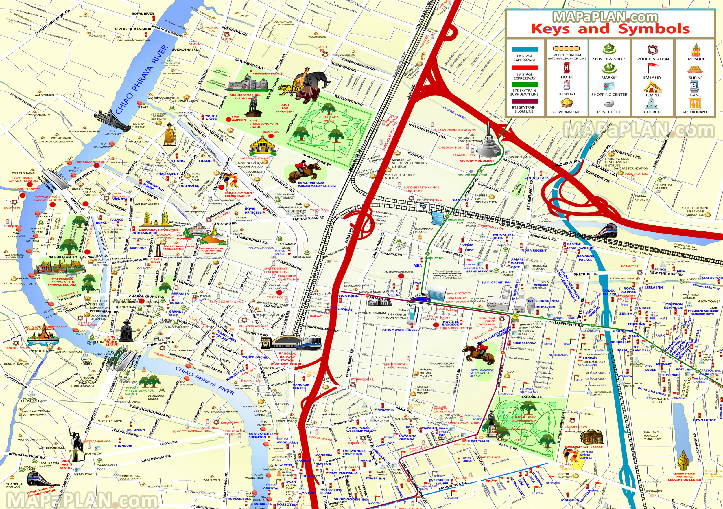 Bangkok maps - Top tourist attractions - Free, printable city street map