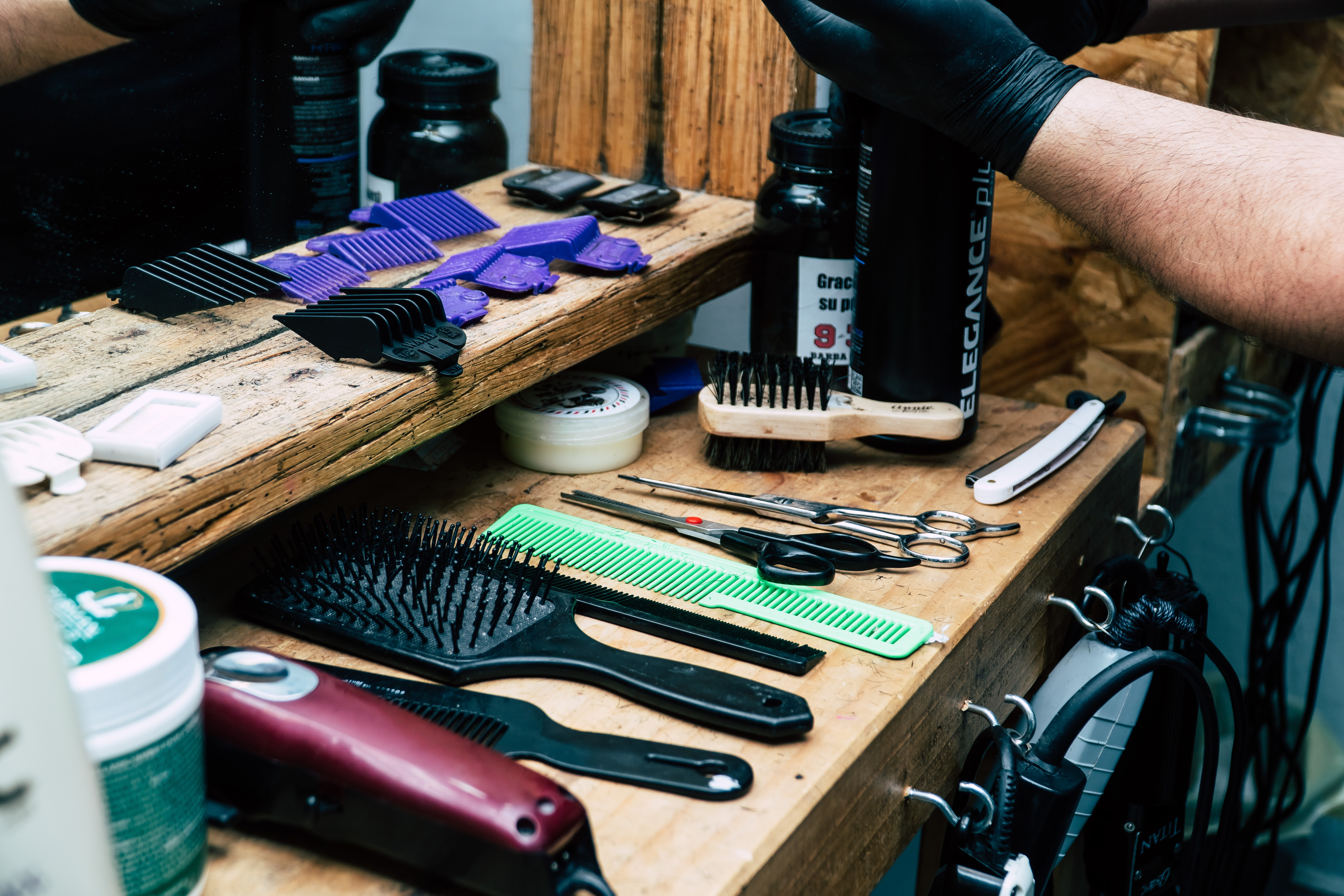 Barber's Tool on Table, Barber, Craft, Display, Hand, HQ Photo