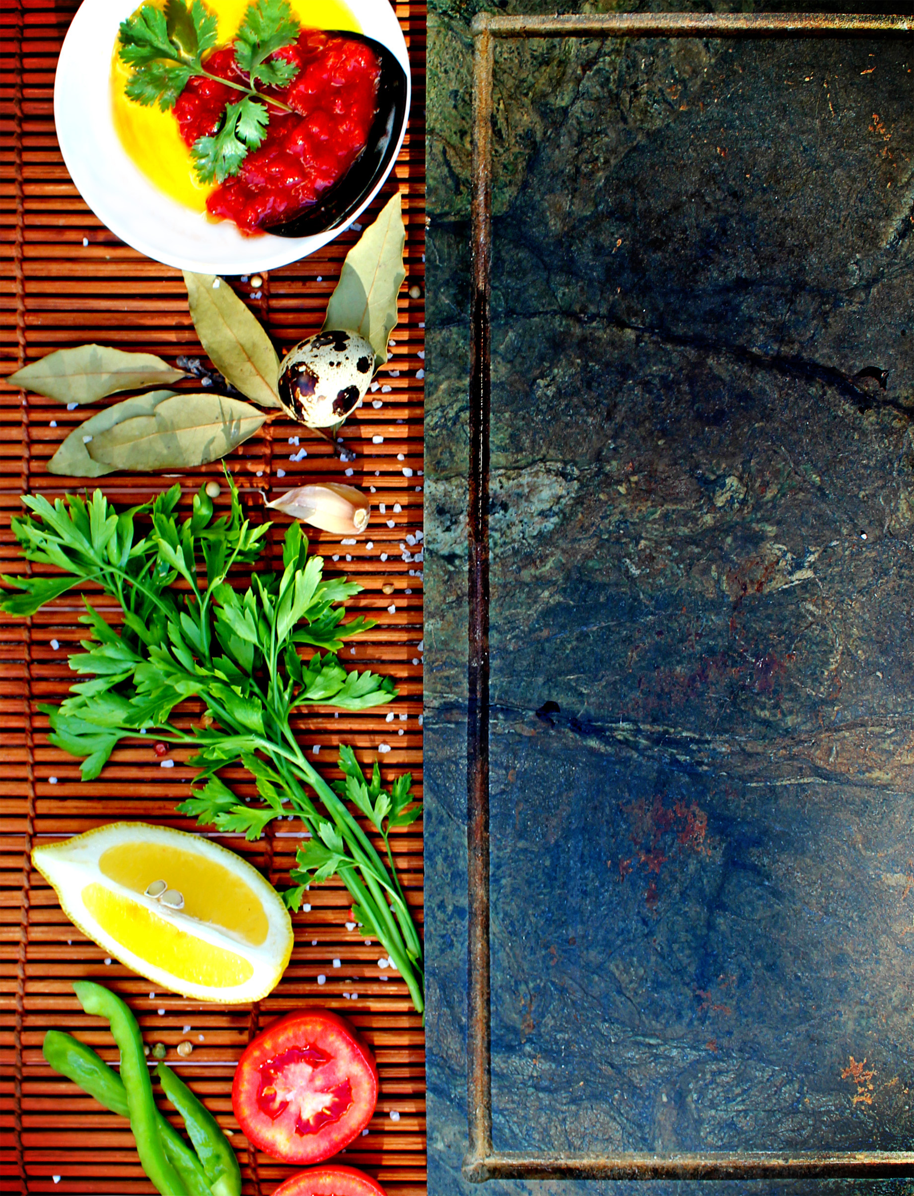 Basic mediterranean cooking ingredients, Bay, Olive, Table, Style, HQ Photo