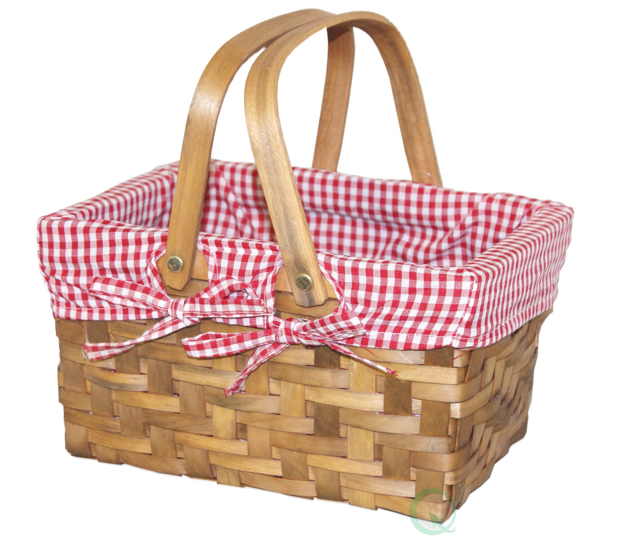 Amazon.com : Vintiquewise TM Rectangular Basket Lined with Gingham ...