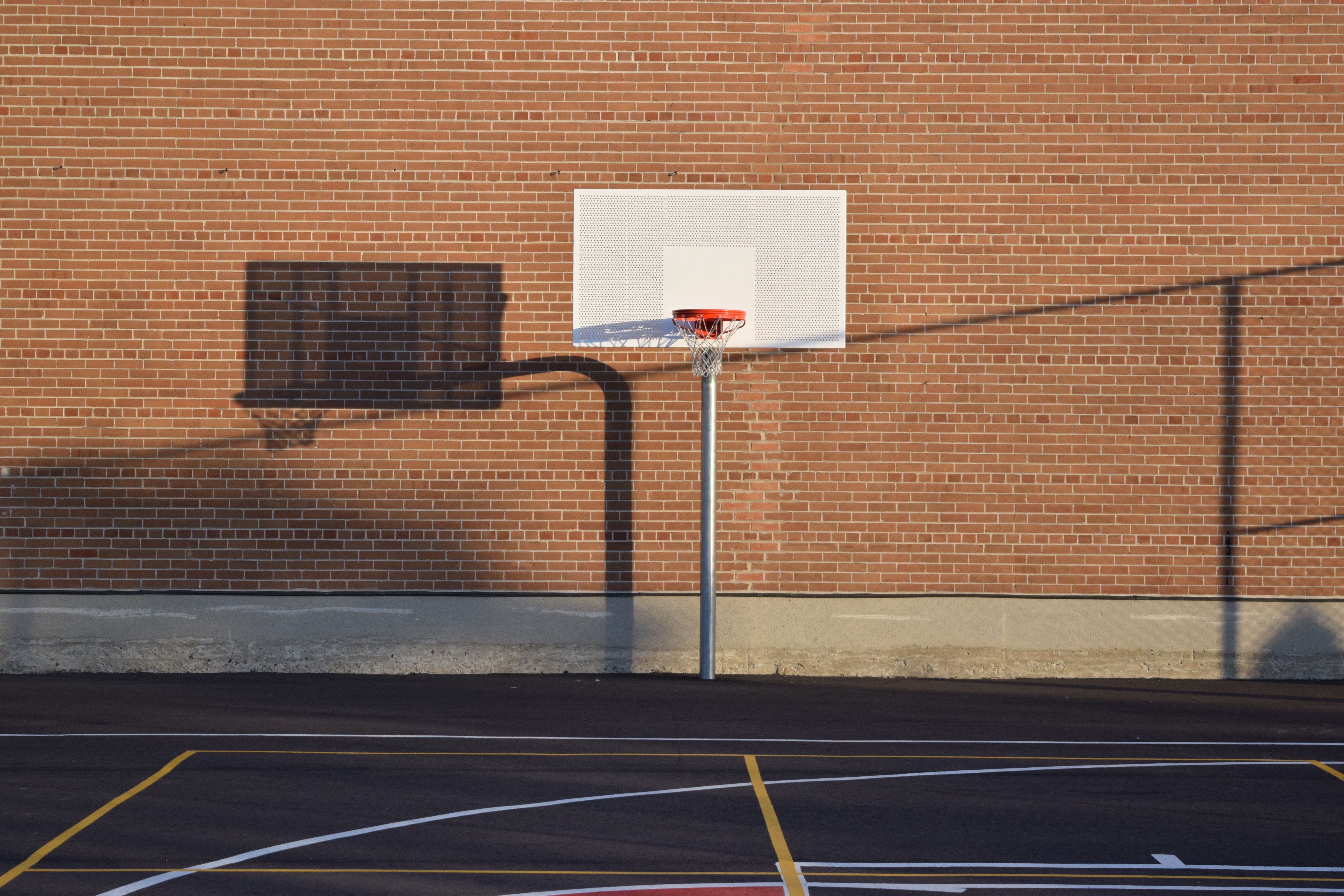Basketball Hoop on Court, Shadow, Outdoors, Street, Light, HQ Photo