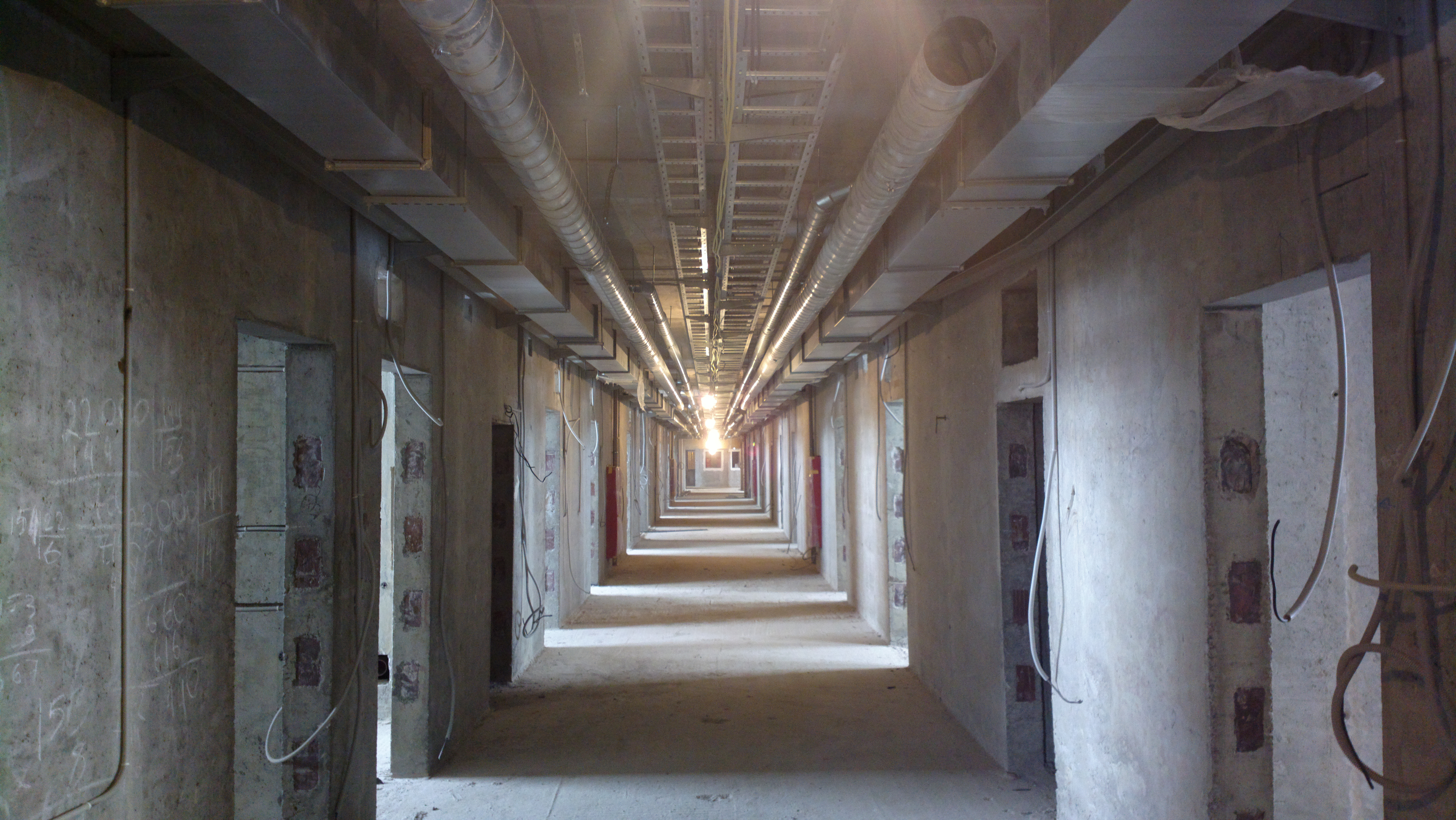 Shattered prison corridor photo