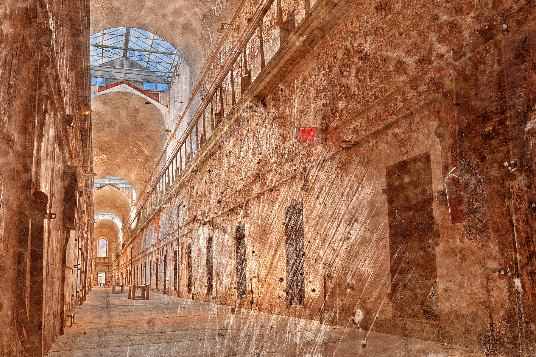 Battered Prison Corridor, Abandoned, Piping, Scratch, Scenery, HQ Photo