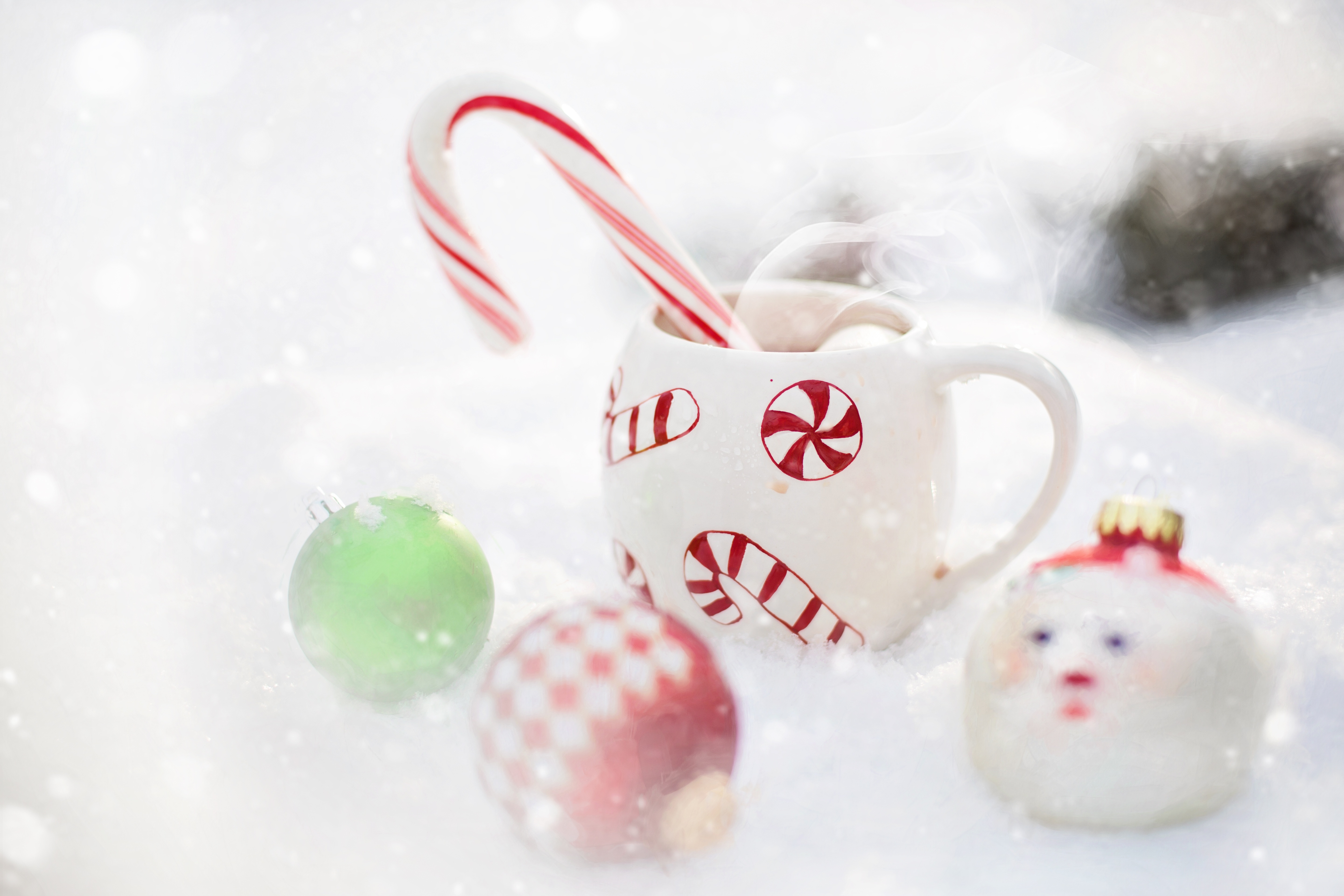 Bauble and Hot Chocolate, Ornament, Sweet, Winter, Hot, HQ Photo