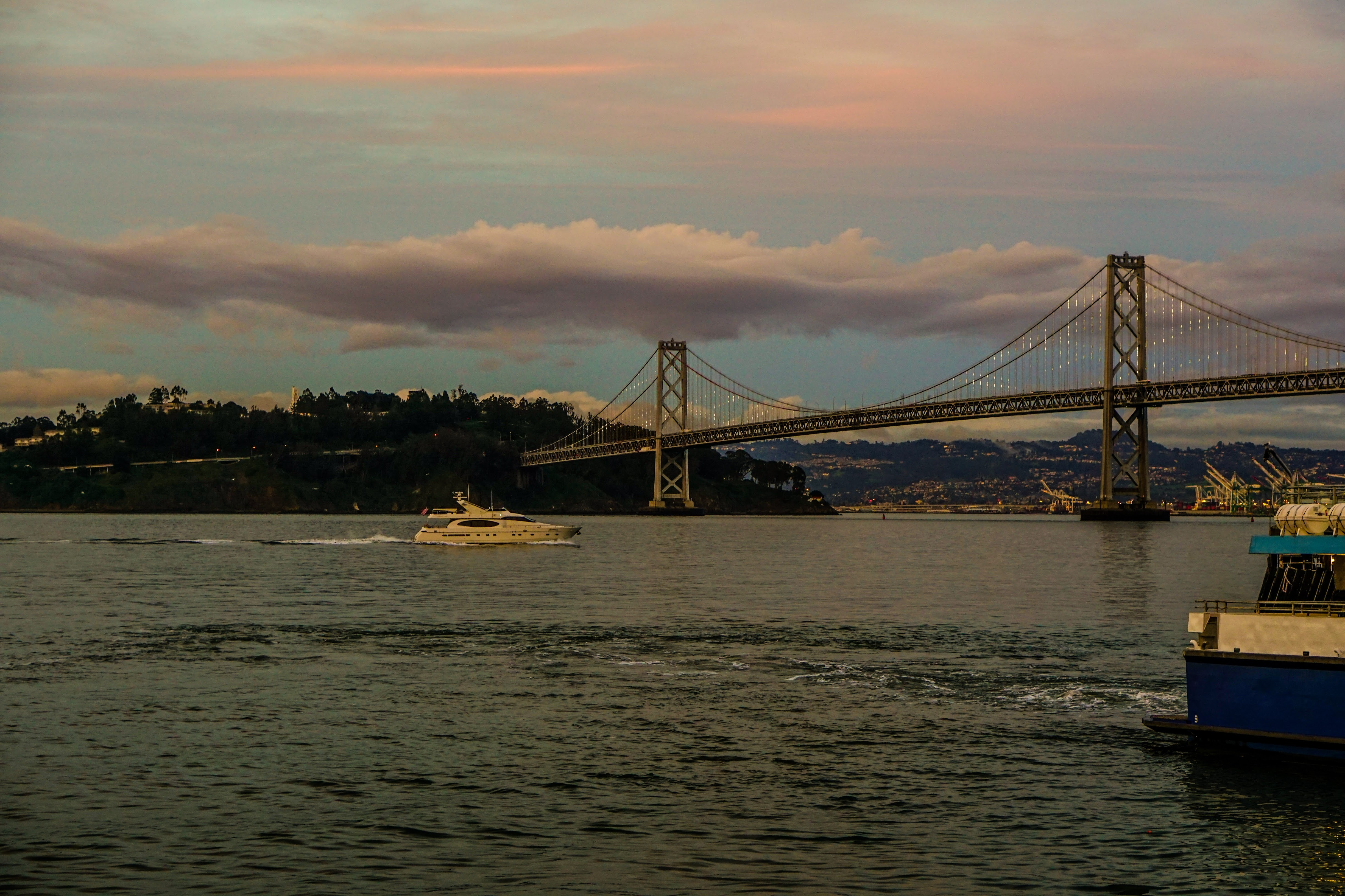 Bay Bridge at Dusk, Baybridge, Boat, Bridge, Sanfrancisco, HQ Photo