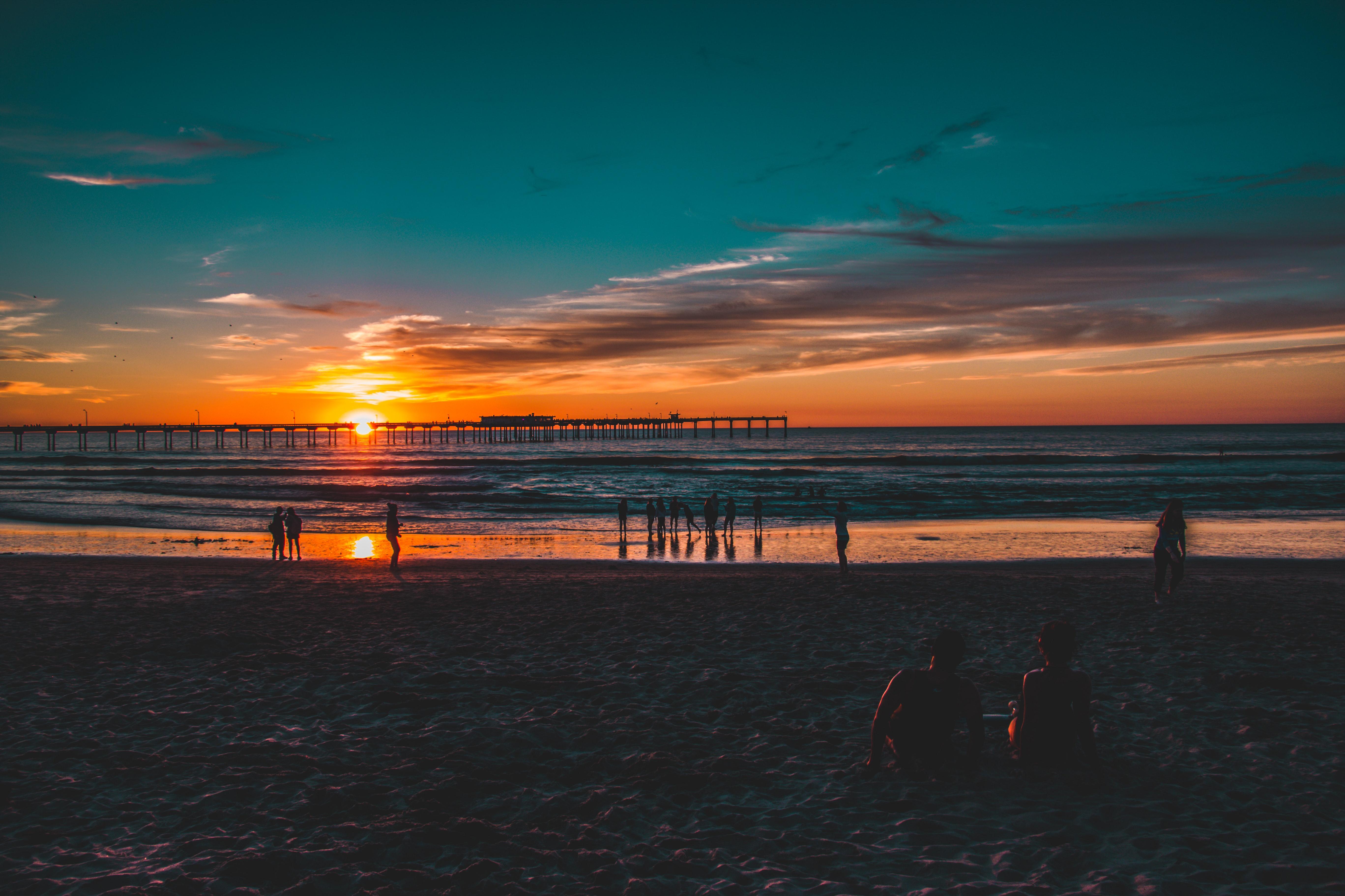 Beach at Sunset, Bay, Reflection, Travel, Sunset, HQ Photo