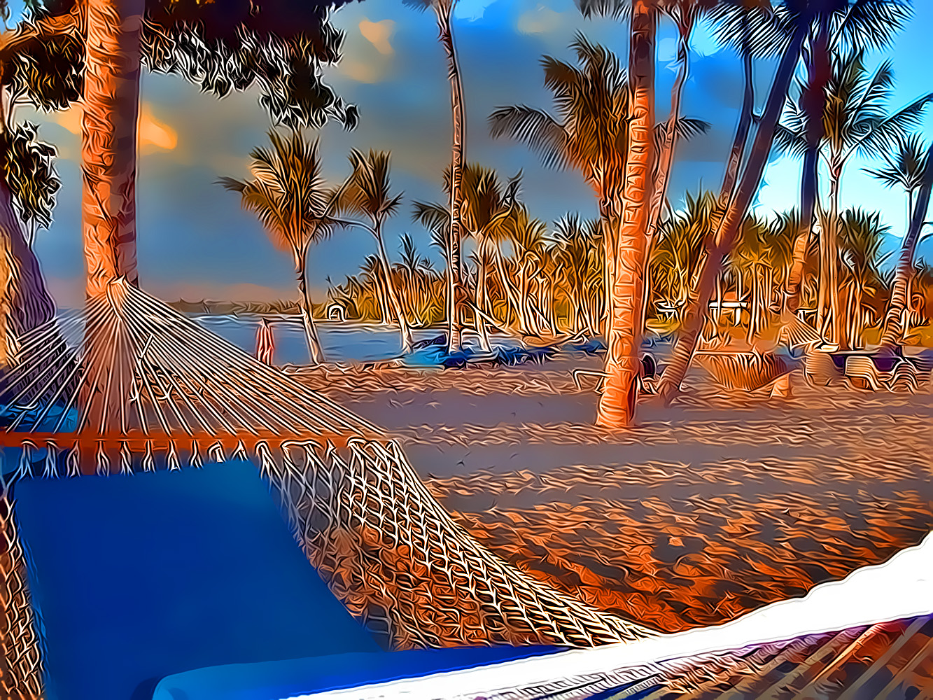 Beach Hammocks, palms, resort, tropical, warm, HQ Photo