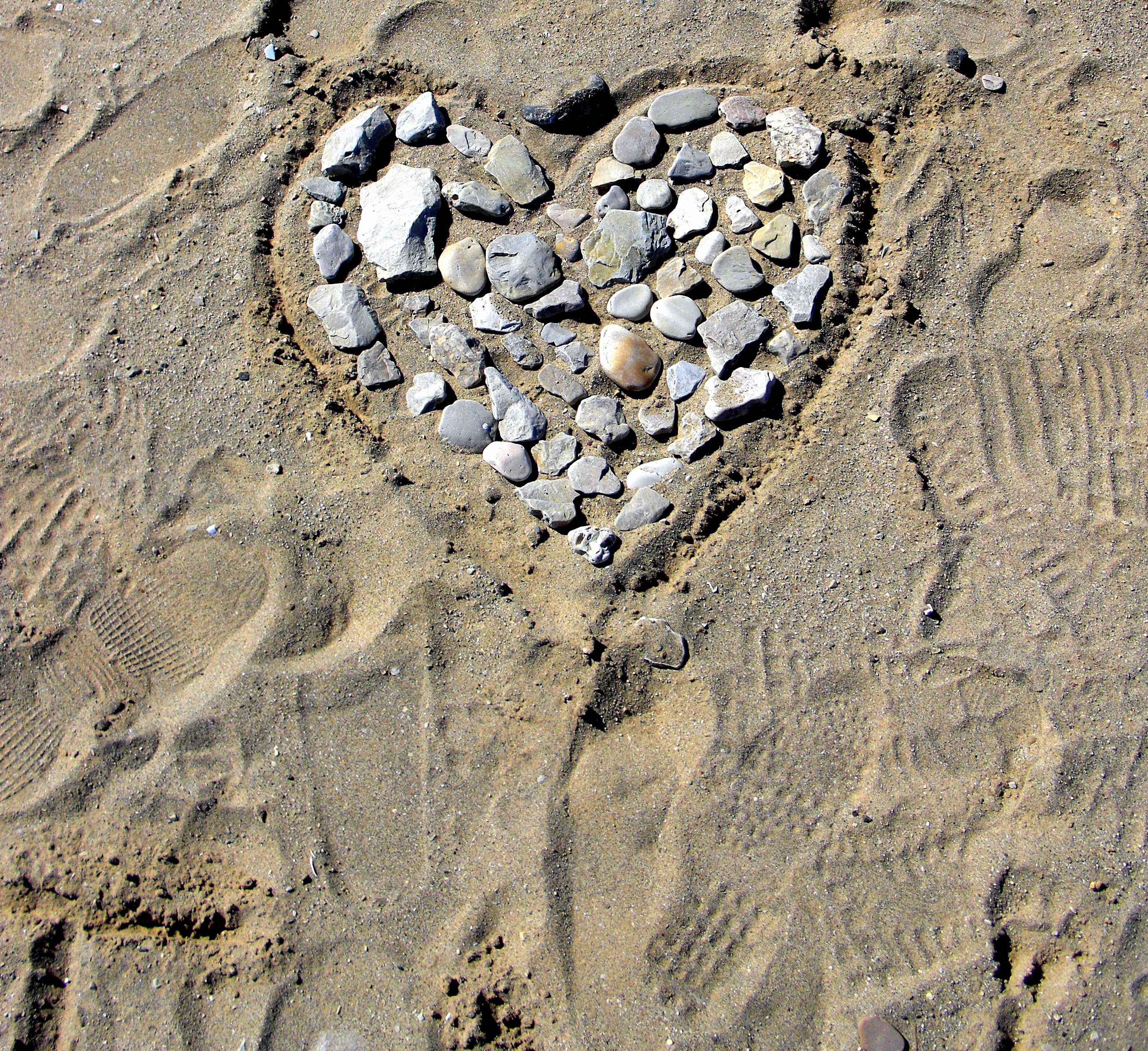 Beach Heart, Emotion, Expression, Footprints, Heart, HQ Photo