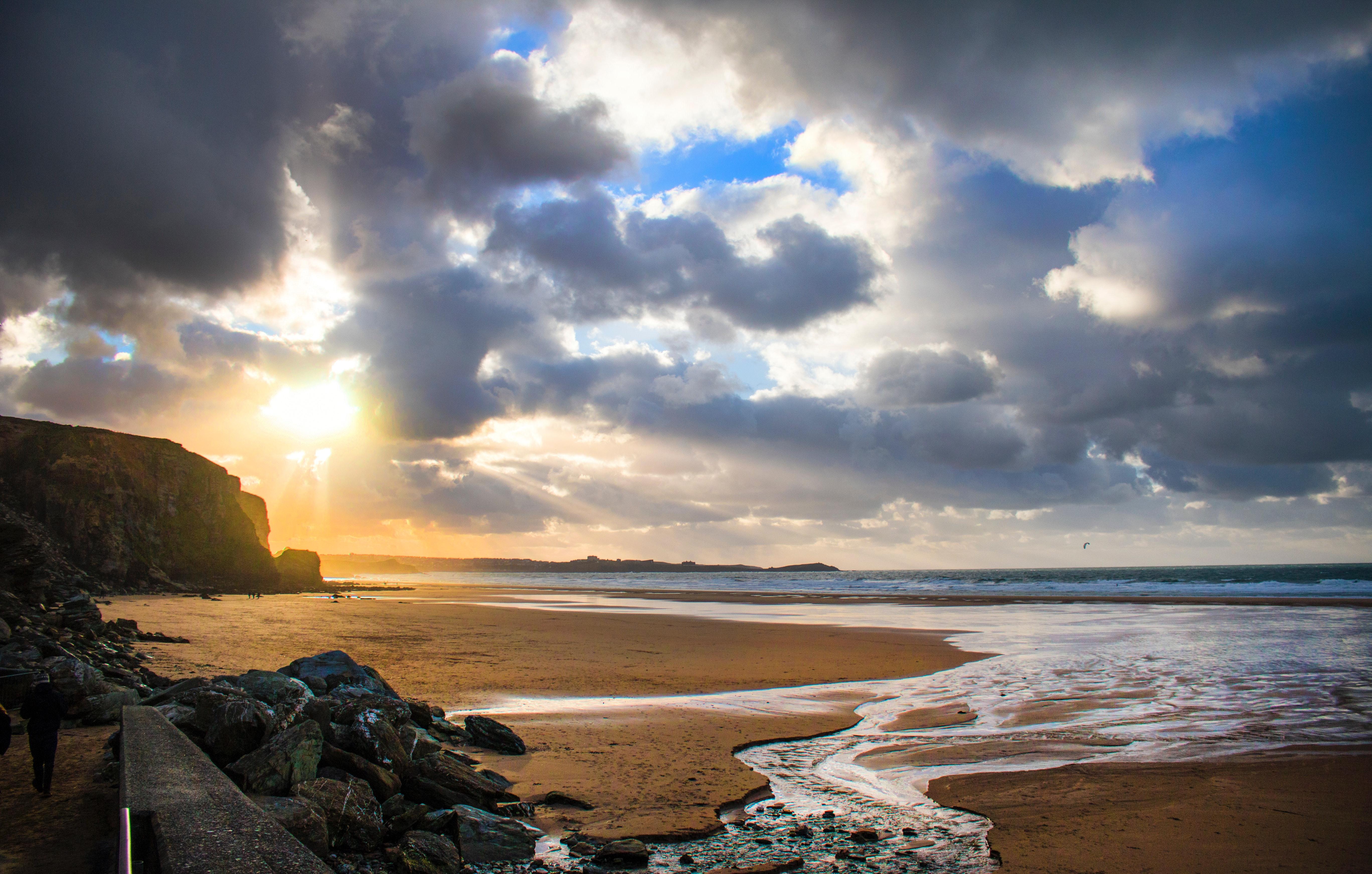 Beach shore during sunset photo