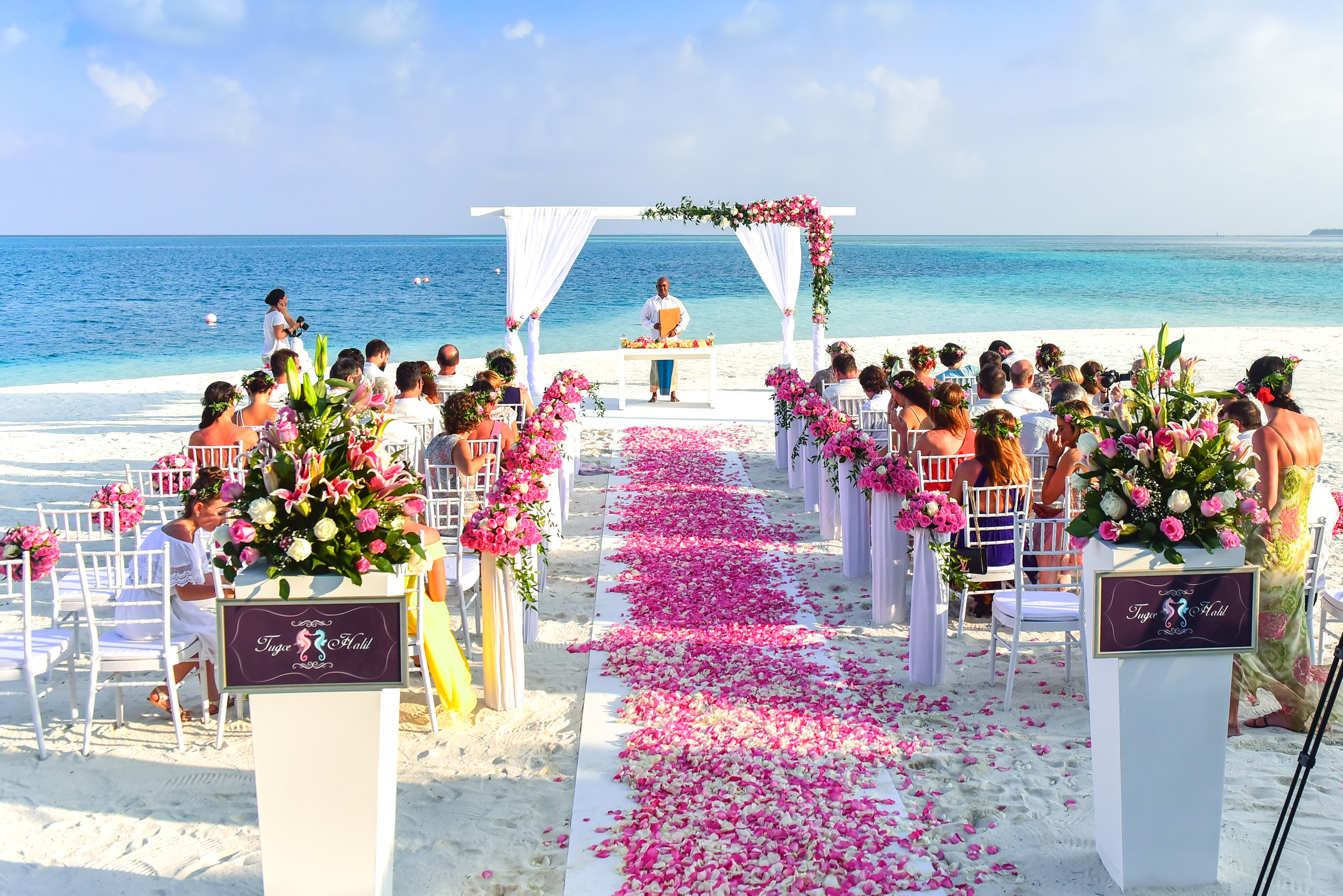 Free photo: Beach Wedding Ceremony during Daytime - Aisle, People, Wedding  Setup - Free Download - Jooinn