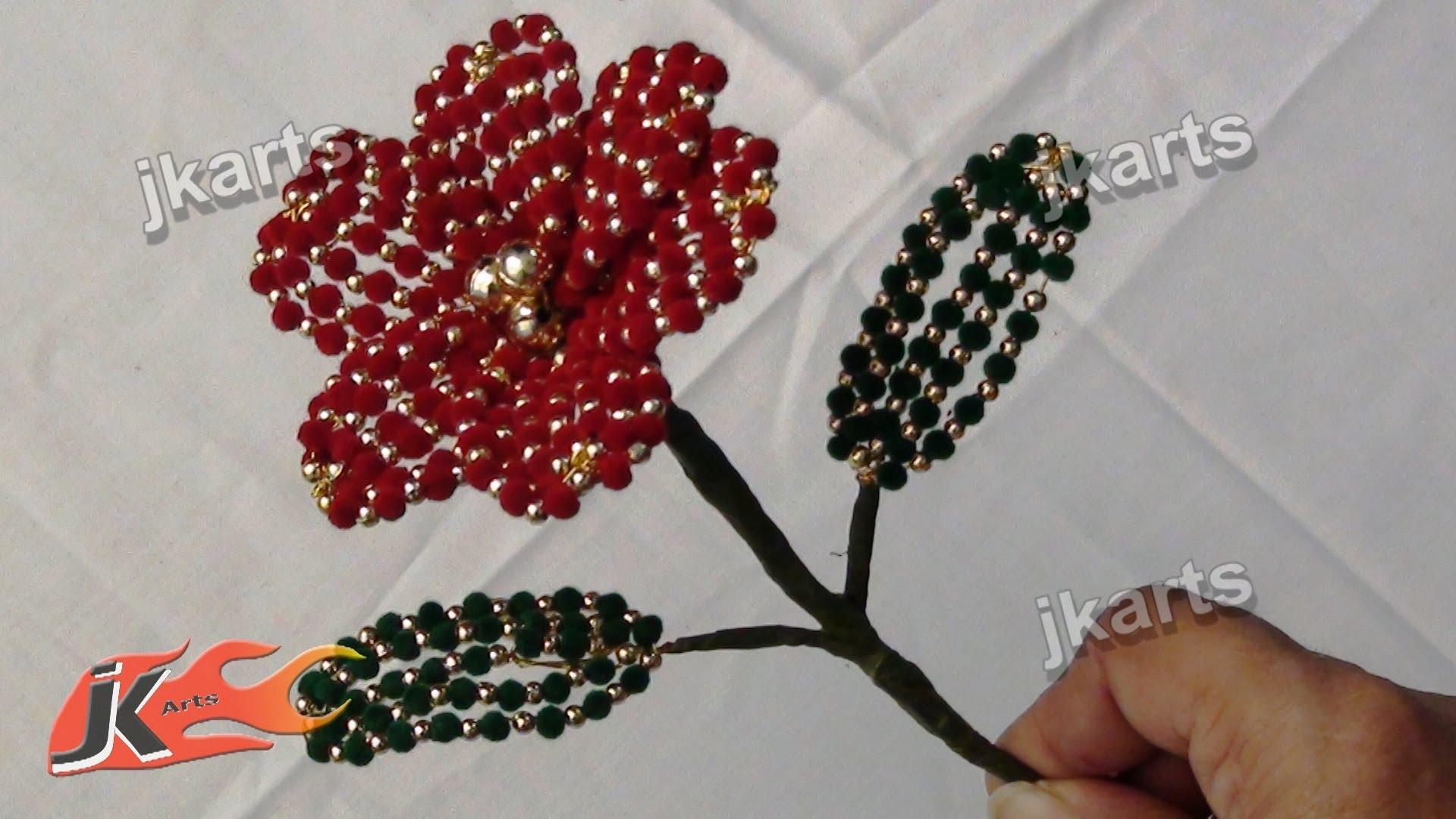 DIY How to make Velvet Beads Flower JK Arts 206 - YouTube