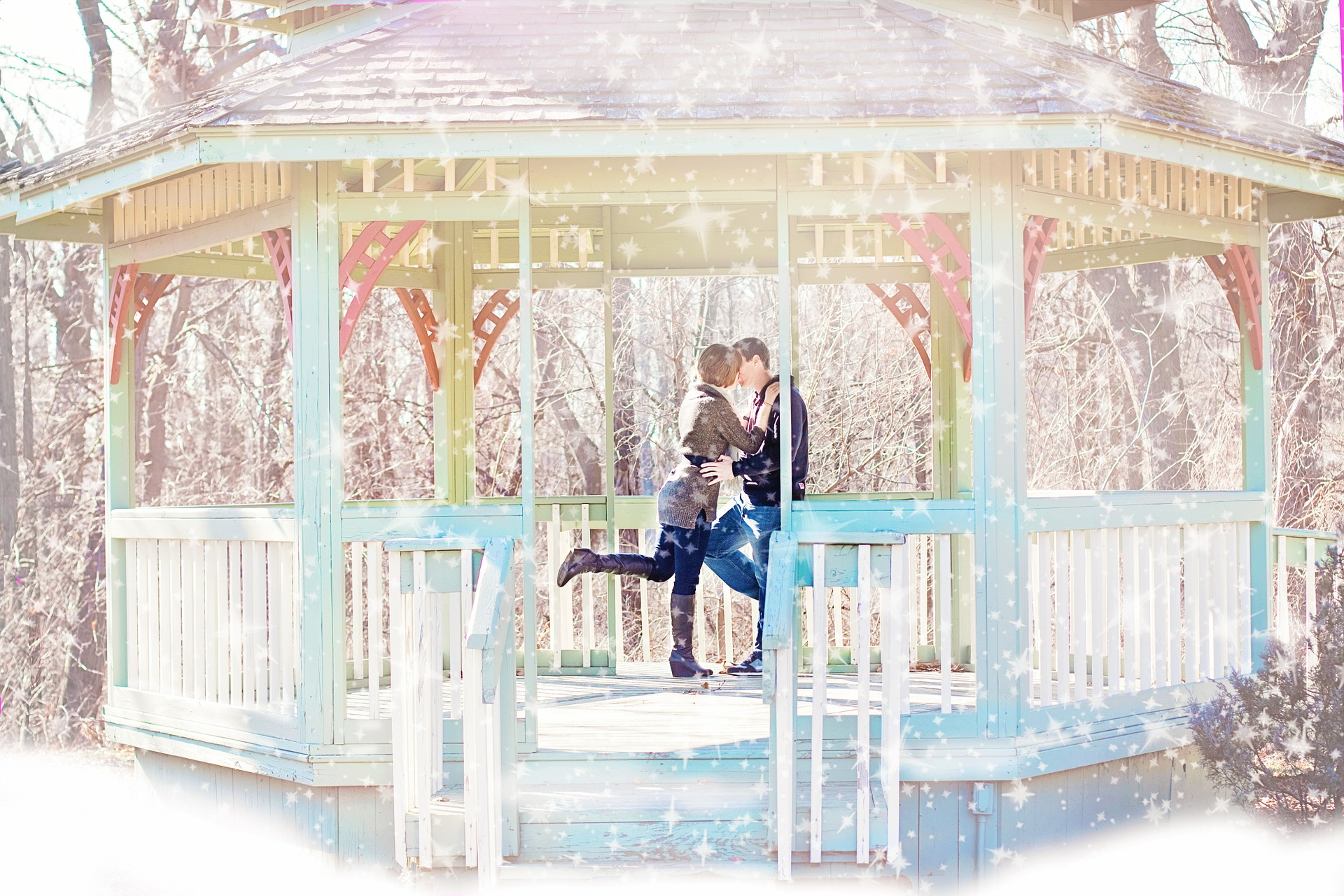 Beautiful couple kissing photo