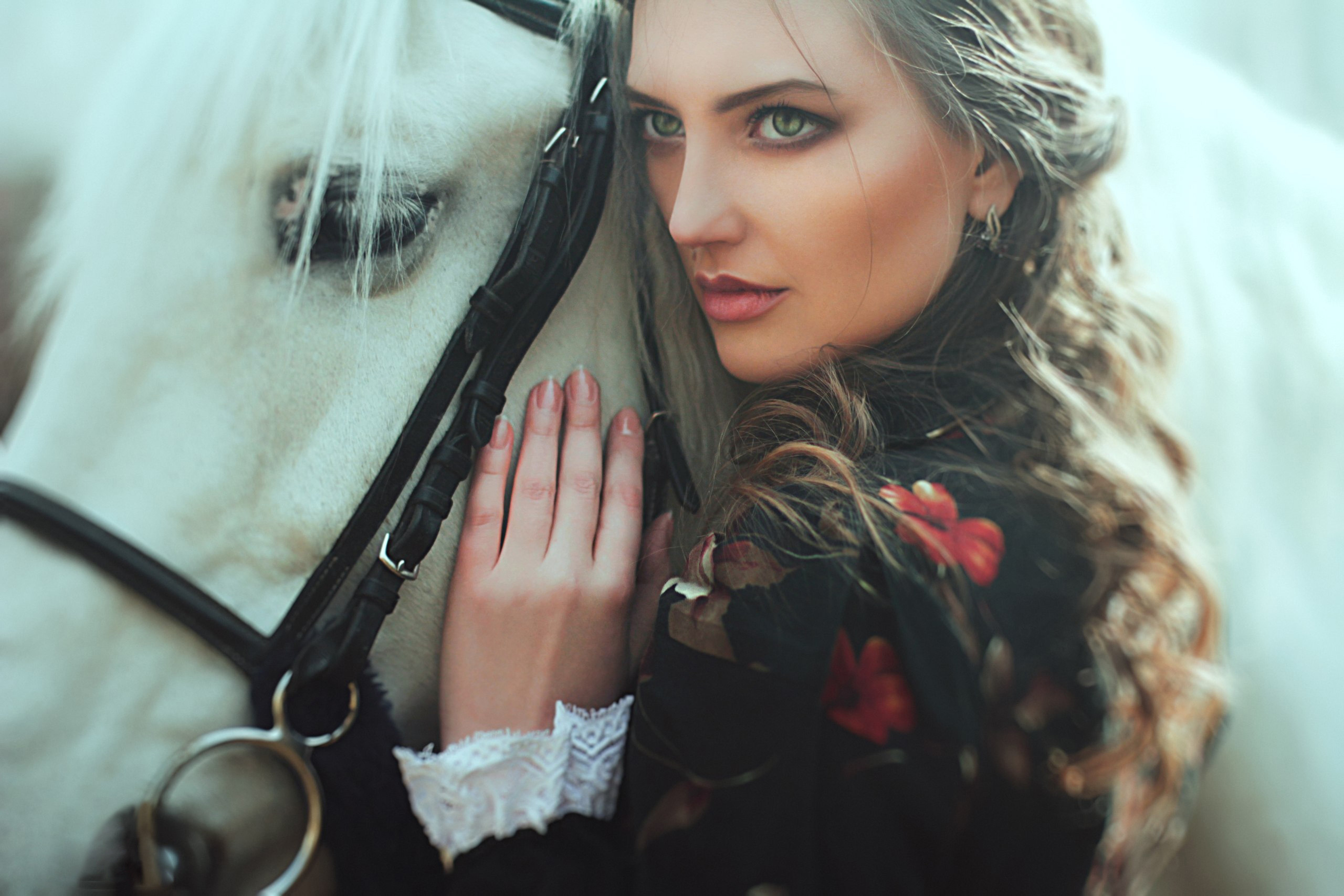 Pretty model lady beauty beautiful horse wallpaper | 5120x3414 ...