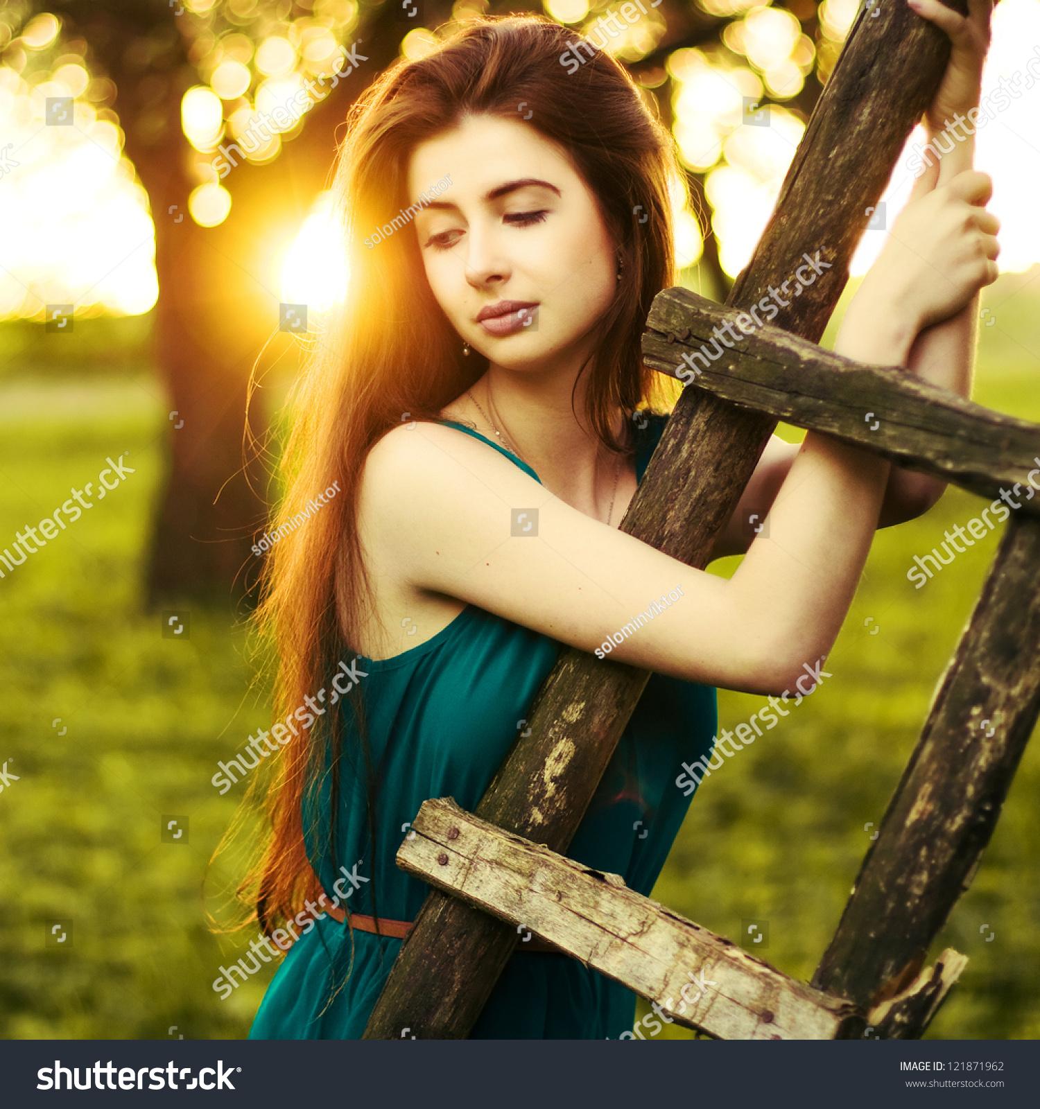 Young Beautiful Lady Posing Apple Garden Stock Photo (100% Legal ...