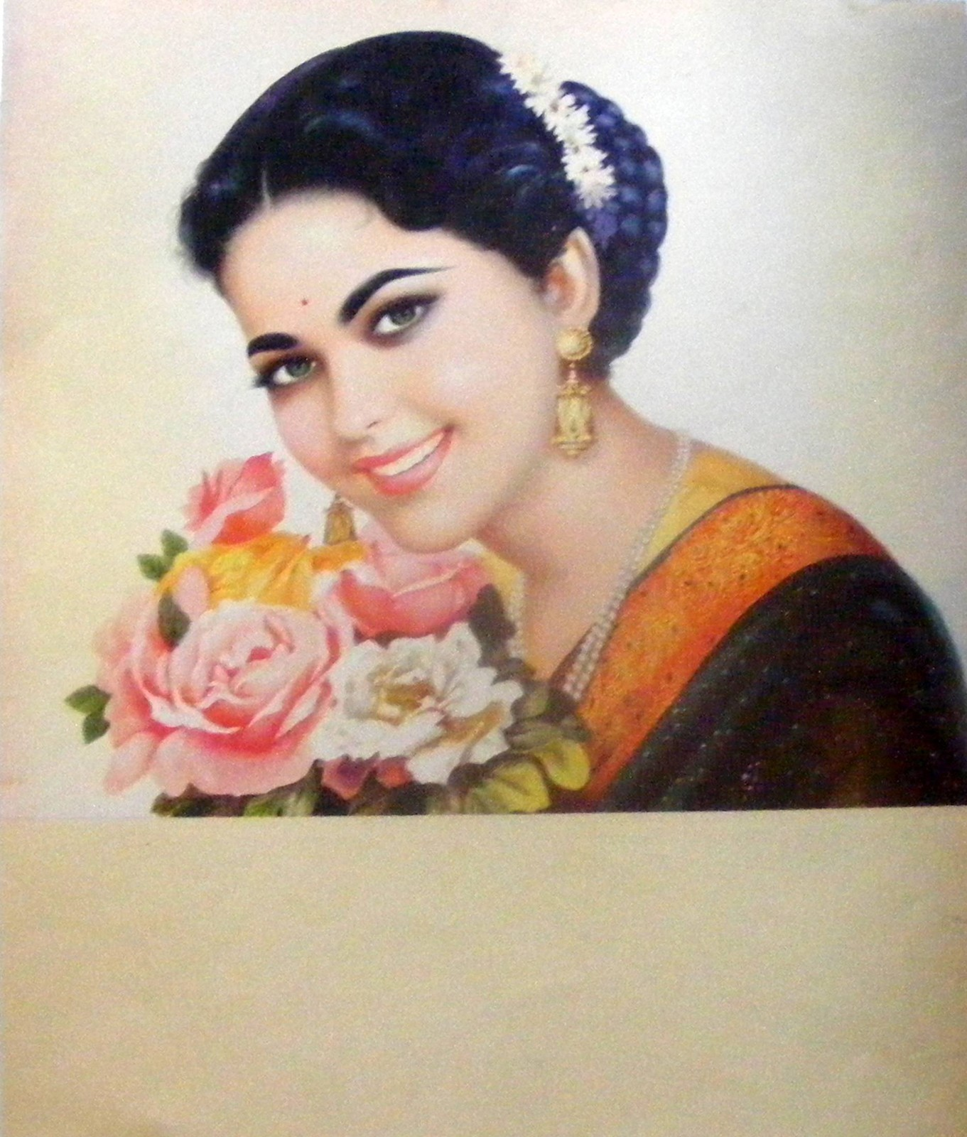 Beautiful Lady with Bunch of Flowers - Vintage Print India 1950's ...