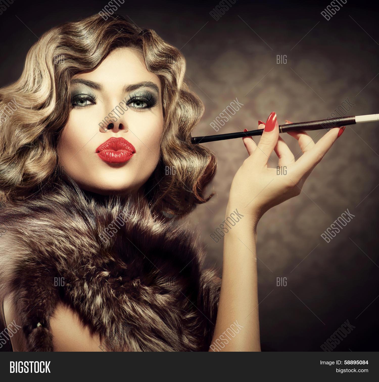 Beauty Retro Woman Mouthpiece. Image & Photo | Bigstock