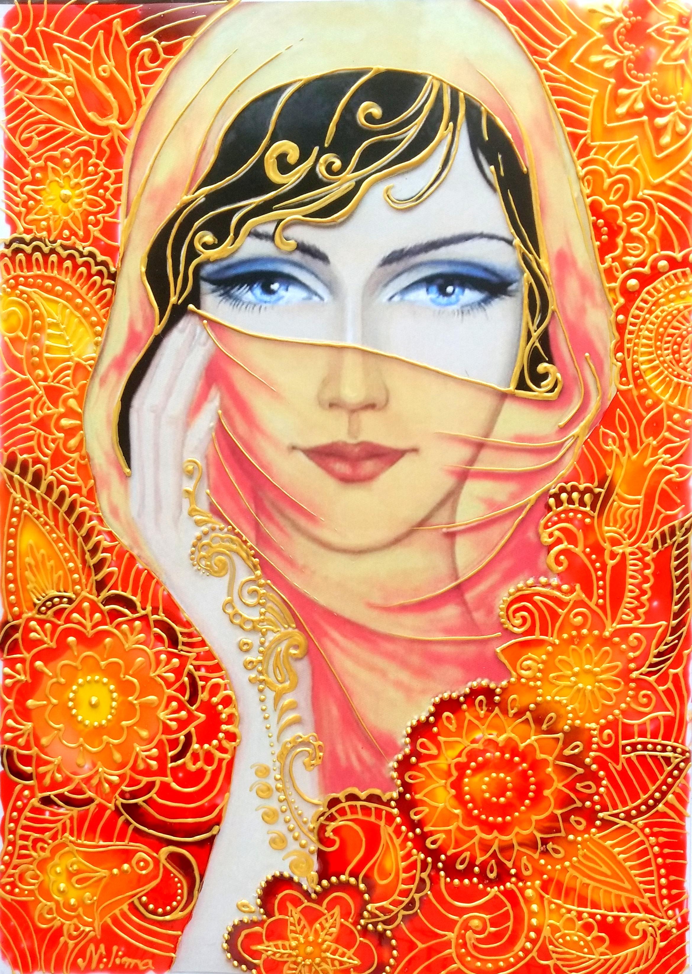 GLASS PAINTING OF BEAUTIFUL LADY WEARING SCARF - CREATIVE ART