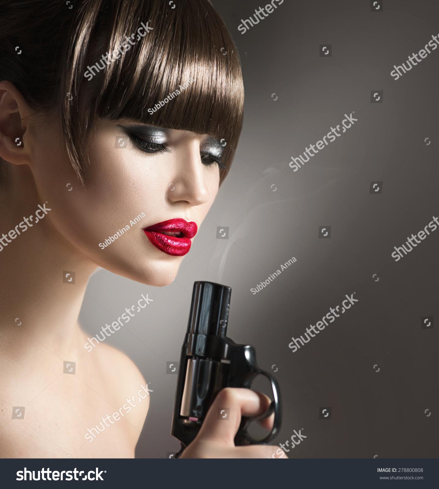 Sexy Model Woman Gun Beauty Girl Stock Photo & Image (Royalty-Free ...
