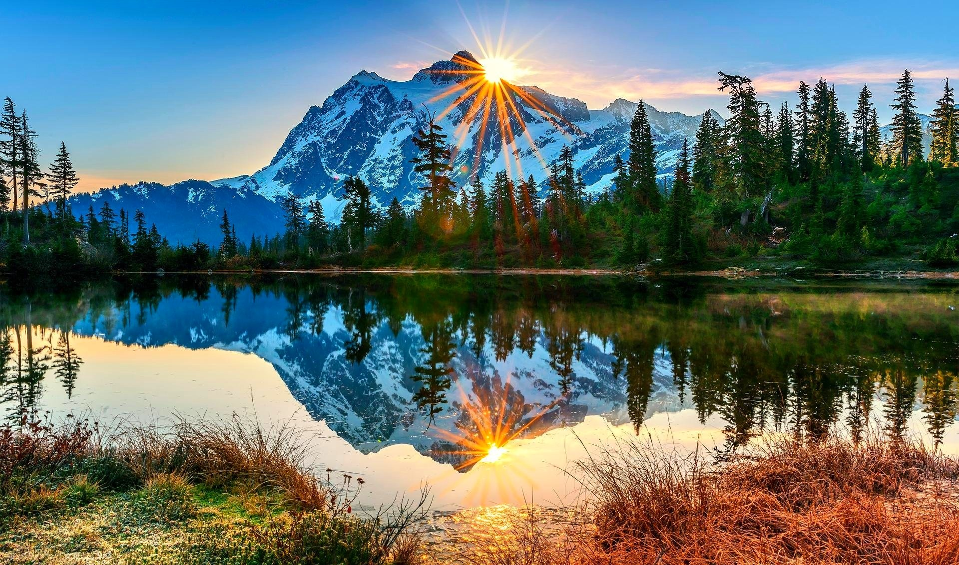 Mountains: Trees Snowy Reflection Mountain Peaks Sunrays Lake Forest ...