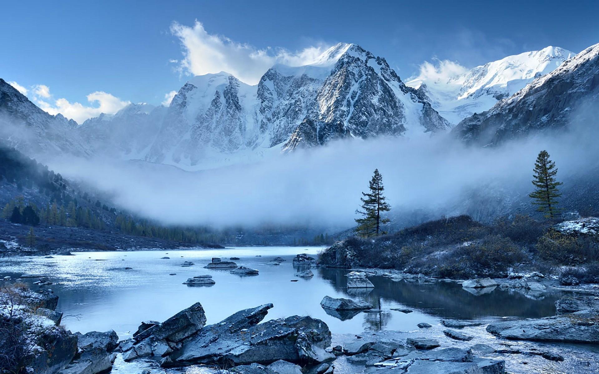 Mountains: Trees Beautiful Mountains Scene Snow Mountain River ...