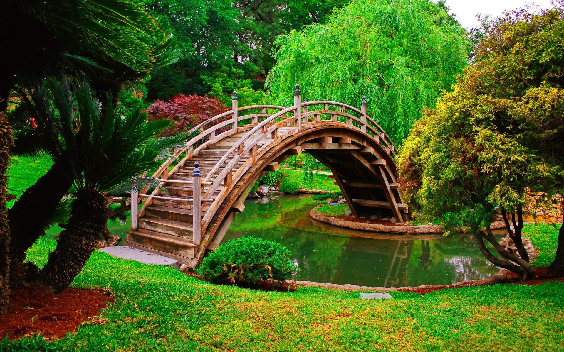 Misc: Beautiful Park Grass Bridge Summer Trees Nature Freshness ...