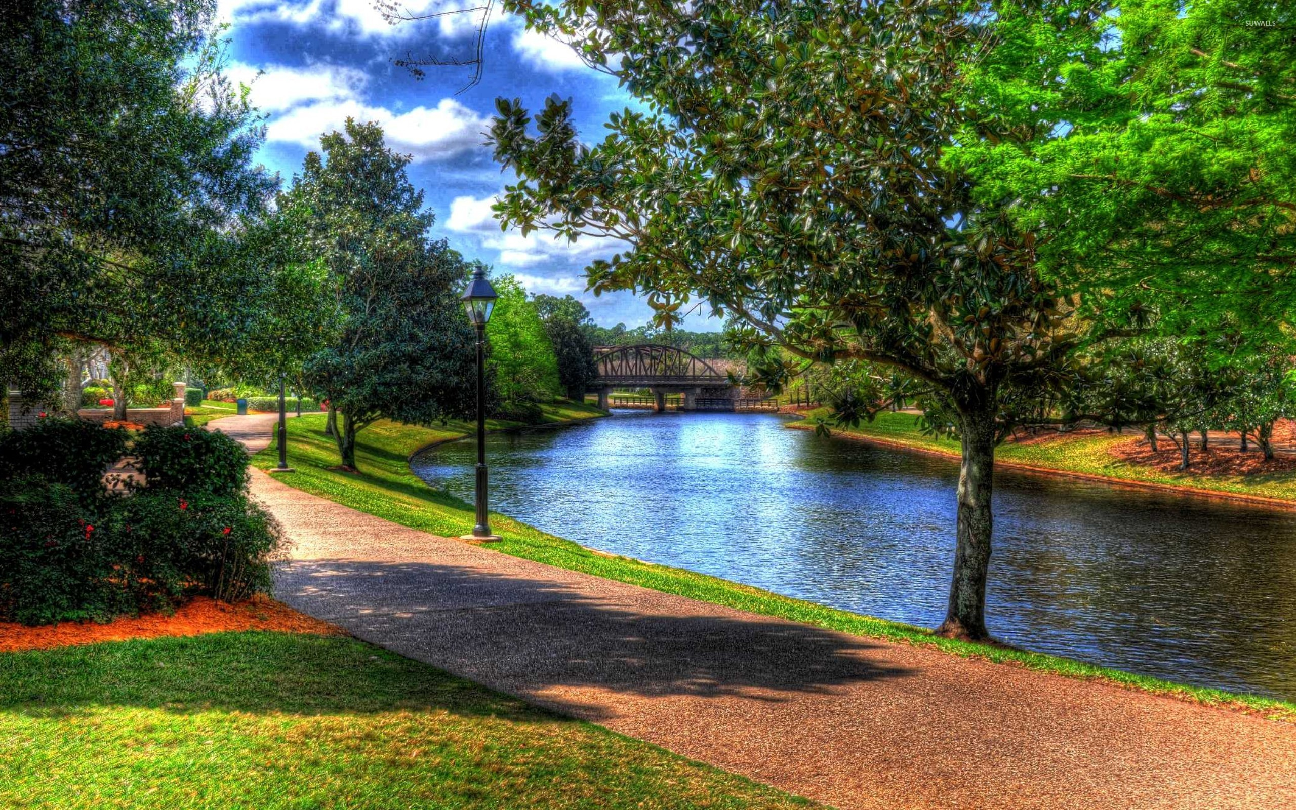 Beautiful park by the river wallpaper - Nature wallpapers - #44490