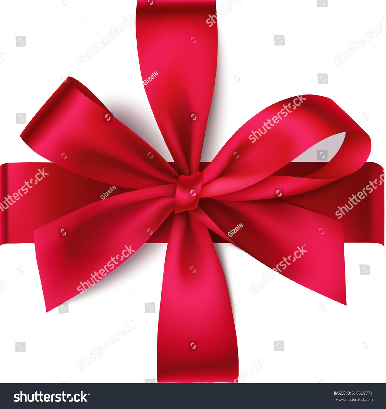 Decorative Red Bow Horizontal Vertical Ribbon Stock Vector 598529771 ...
