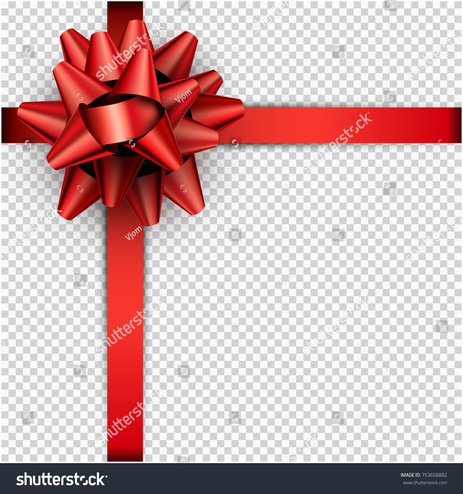 Realistic Beautiful Red Bow Ribbon Gift Stock Vector 753658882 ...