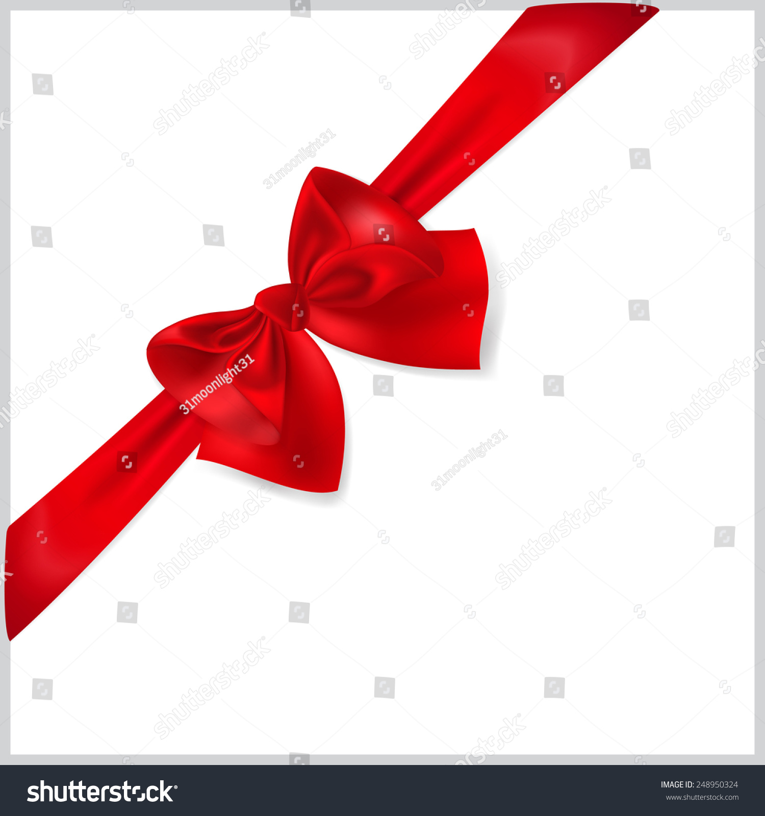 Beautiful Red Bow Diagonally Ribbon Stock Illustration 248950324 ...